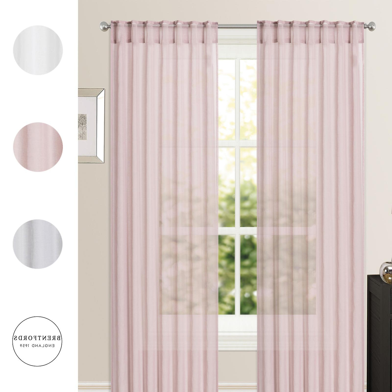 Pairs To Go Victoria Voile Curtain Panel Pairs With Regard To Best And Newest Brentfords Pair Of Sheer Voile Net Curtains Hidden Tab Top Silver Blush Panels (View 17 of 20)