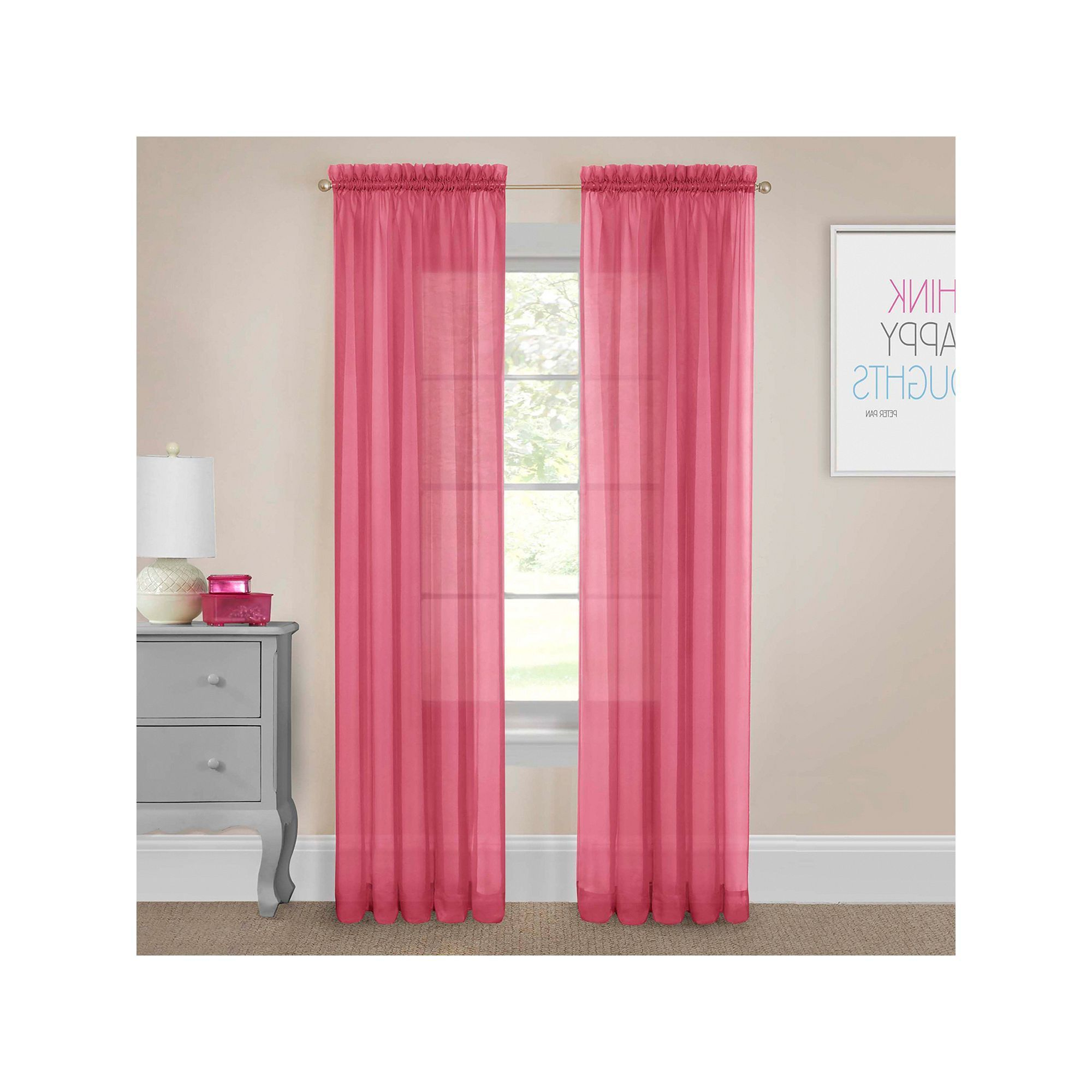 Pairs To Go Victoria Voile Curtain Panel Pairs Within 2020 Pairs To Go 2 Pack Victoria Voile Window Curtains, Pink (View 9 of 20)