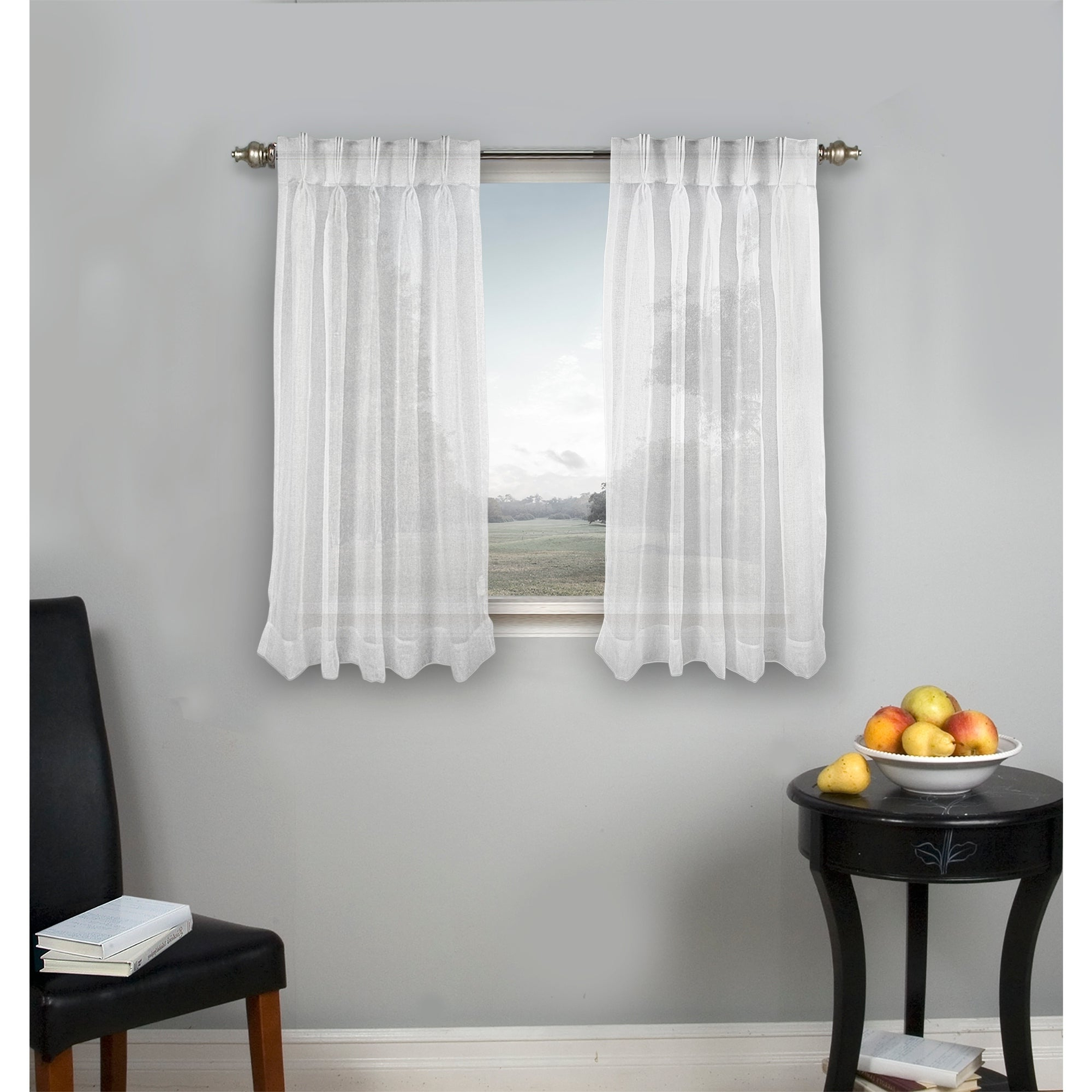 Palm Beach Pinch Pleated Top With Back Tabs Short Curtain Panel Pair Throughout Well Known Essentials Almaden Fretwork Printed Grommet Top Curtain Panel Pairs (View 17 of 20)