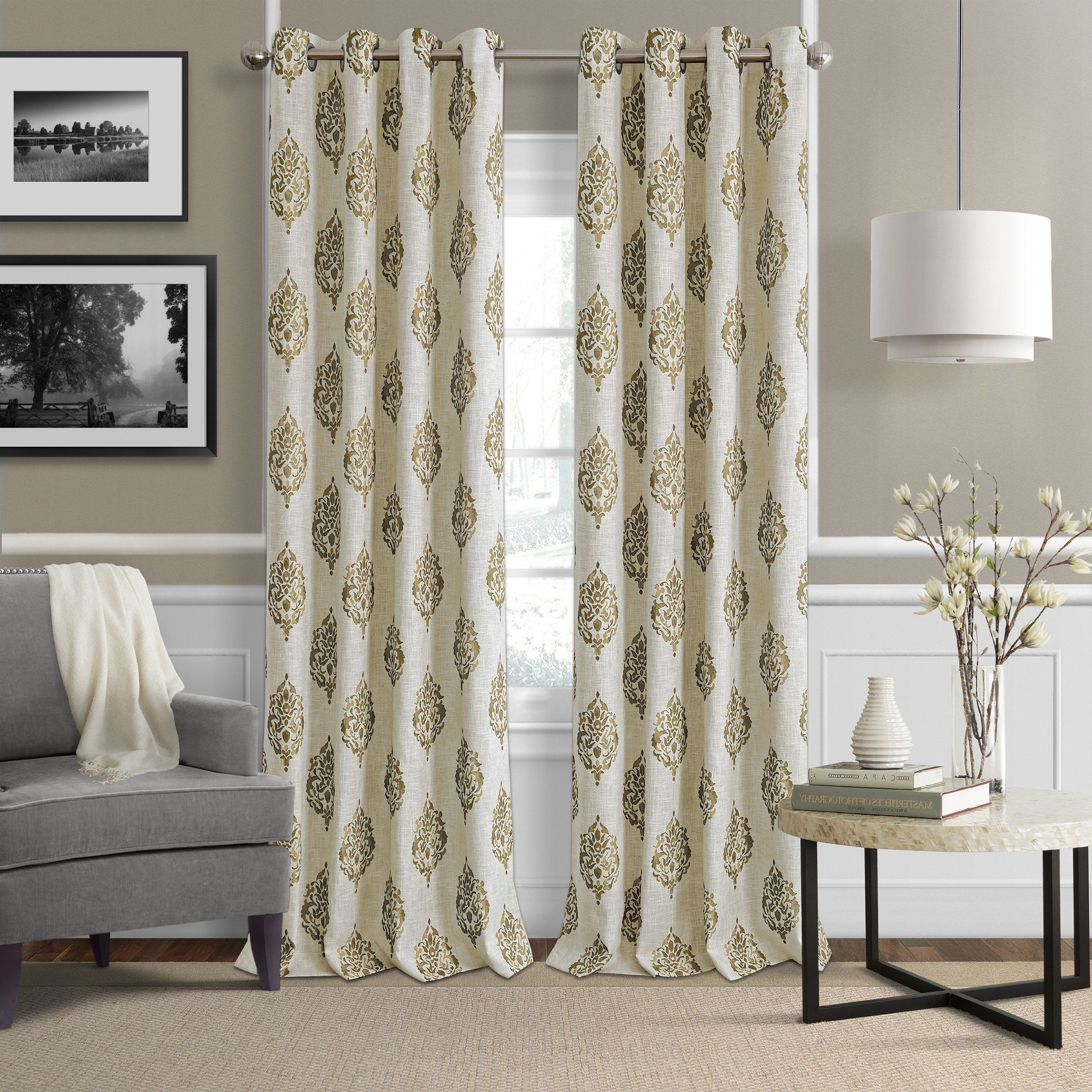 Panel Inside Primebeau Geometric Pattern Blackout Curtain Pairs (View 7 of 20)