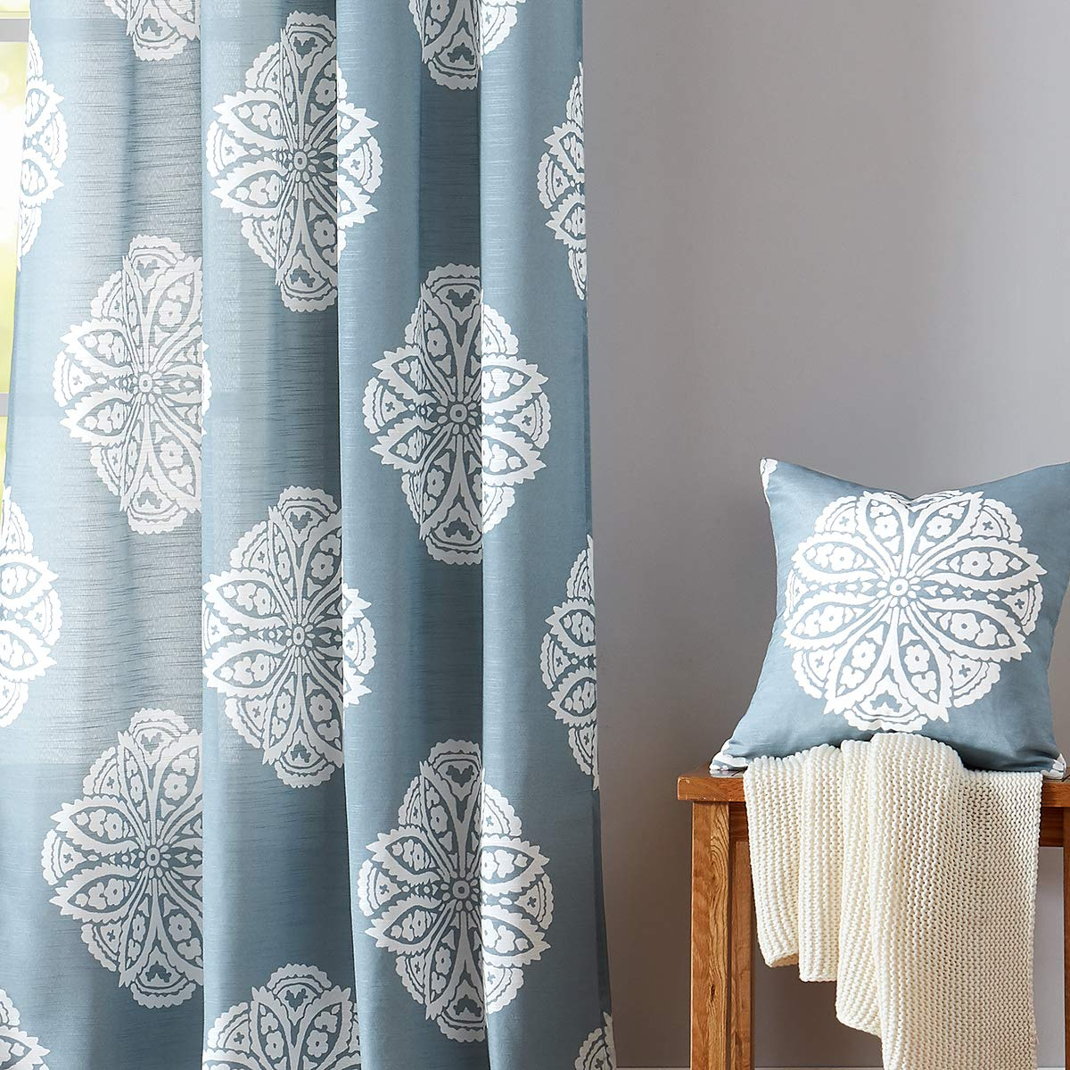 """Pastel Damask Printed Room Darkening Grommet Window Curtain Panel Pairs In Popular White And Blue Semi Sheer Curtains For Living Room 84"""" Floral Medallion Print Window Panels Grommet Top 2 Pc (View 20 of 20)"""