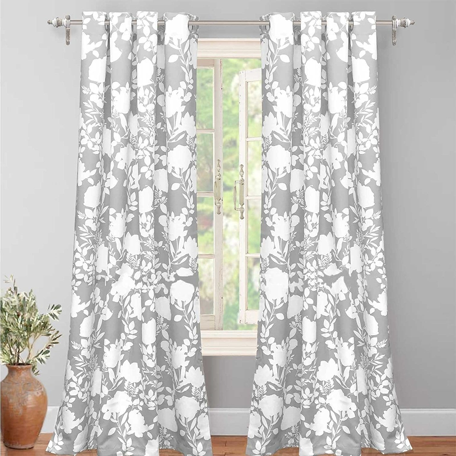 Pastel Damask Printed Room Darkening Grommet Window Curtain Panel Pairs Inside Well Known Driftaway Floral Delight Room Darkening Window Curtain Panel (View 6 of 20)