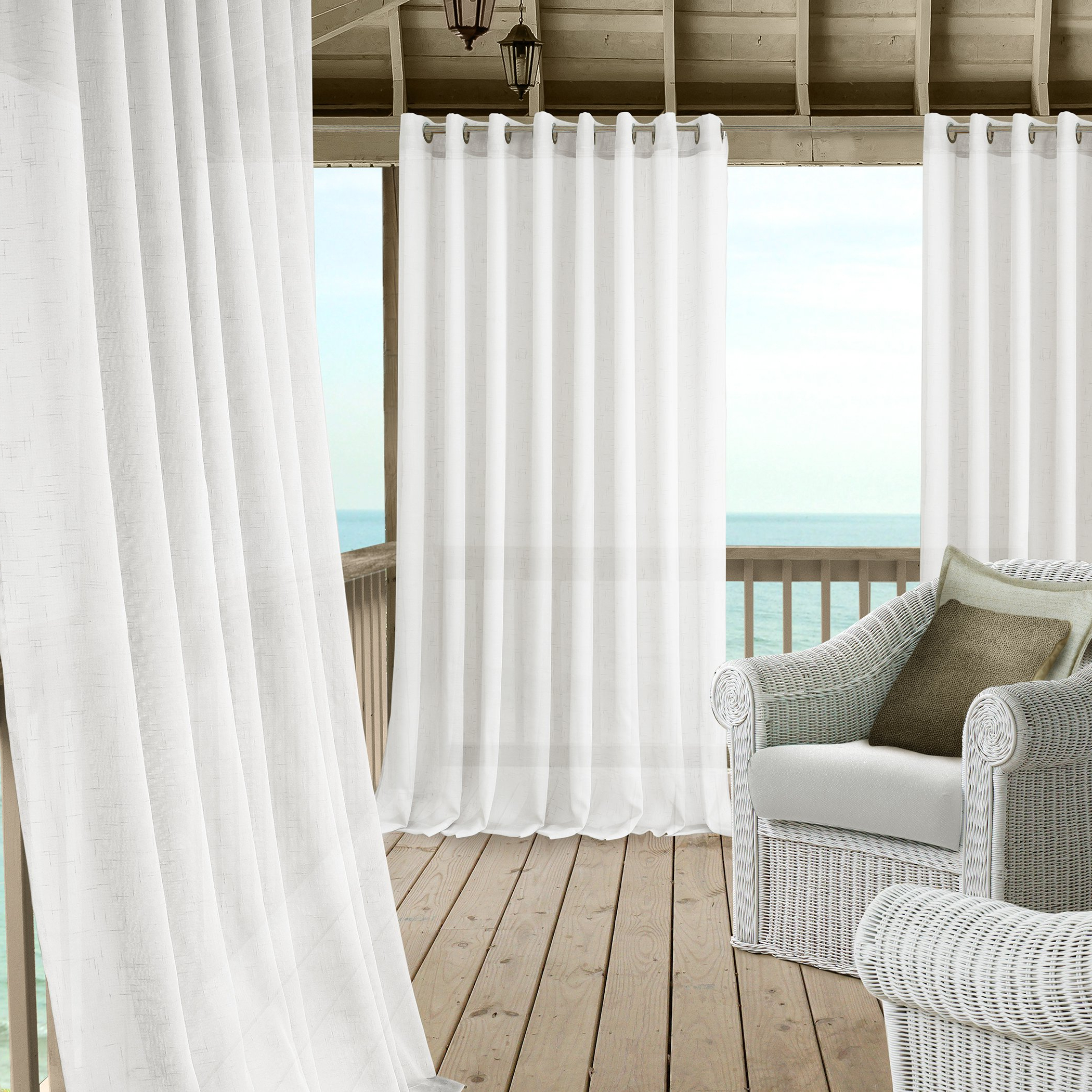 Patio Grommet Top Single Curtain Panels With Favorite Details About Carmen Sheer Extra Wide Indoor/outdoor Grommet Top Single Panel Window Curtain (View 20 of 20)