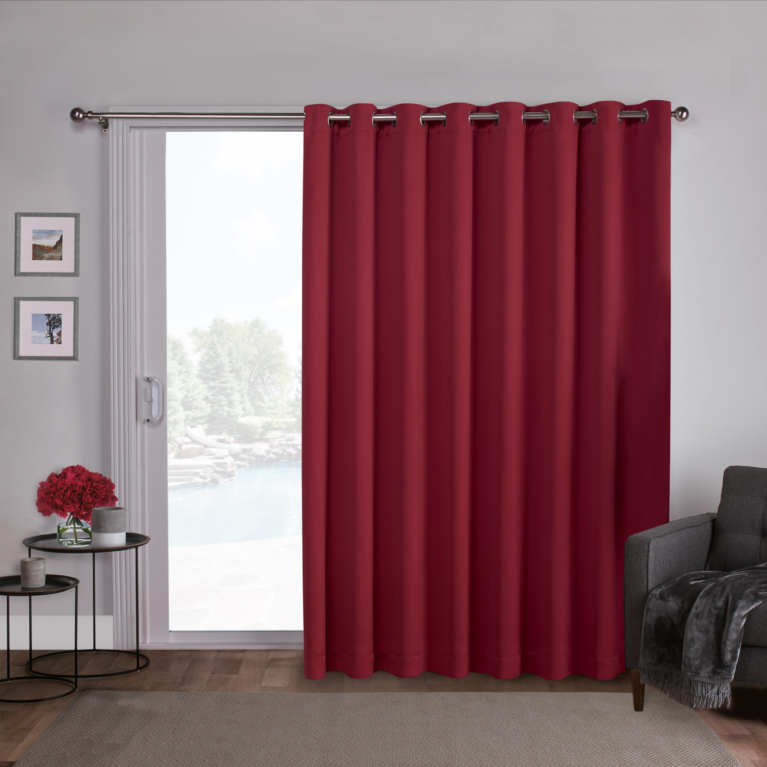 Patio Grommet Top Single Curtain Panels With Regard To Most Recently Released Exclusive Home Curtains 1 Pack Sateen Blackout Wide Patio Grommet Top Single Curtain Panel (View 16 of 20)