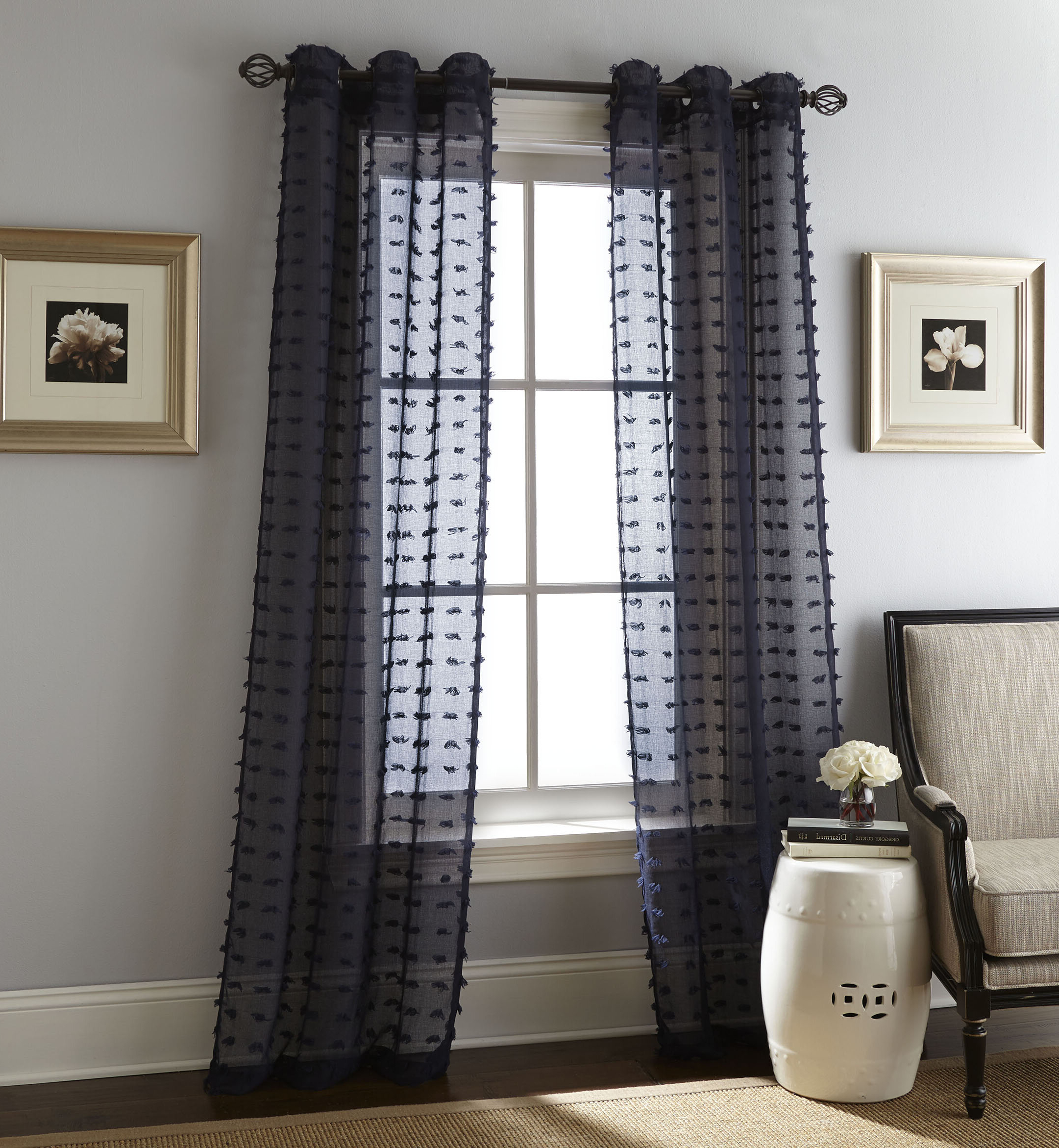 Payton Solid Color Semi Sheer Grommet Curtain Panels In Newest Solid Grommet Top Curtain Panel Pairs (View 16 of 20)