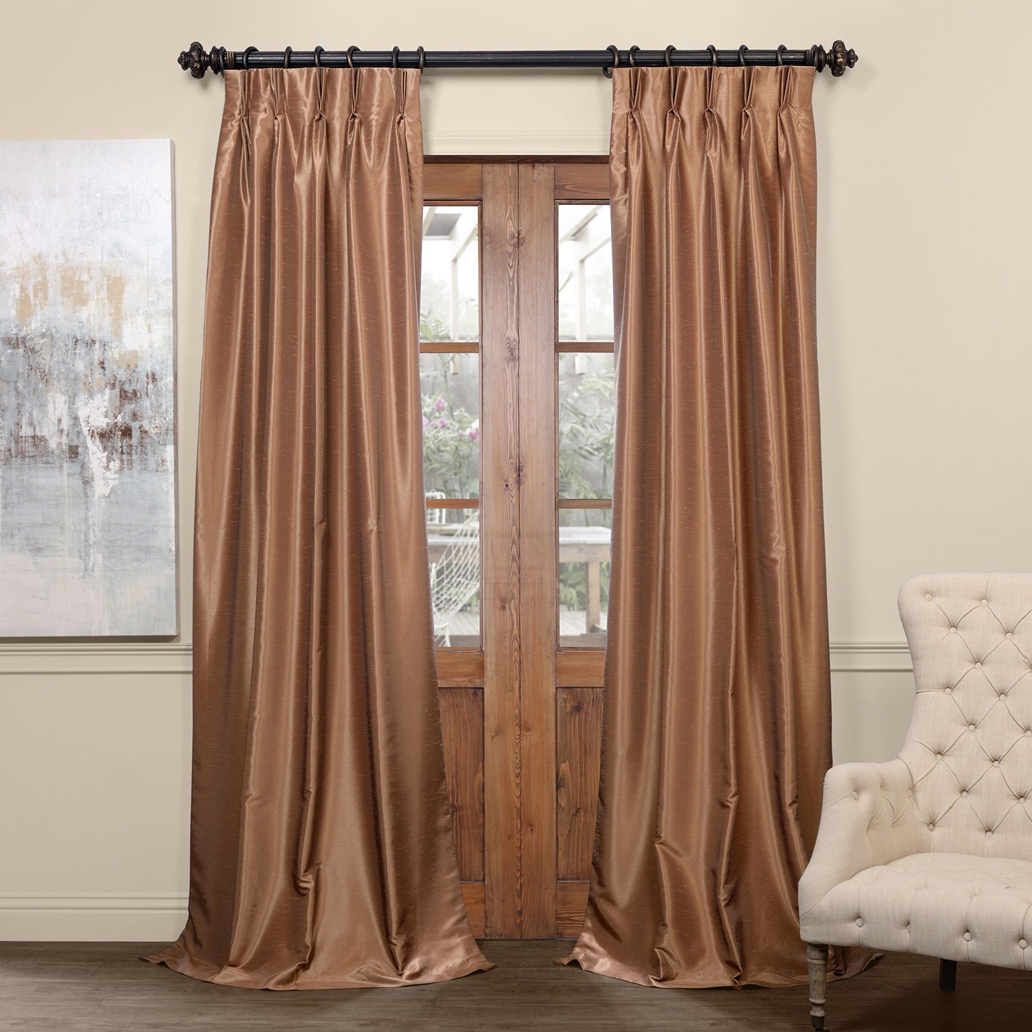 "Pdch Kbs8bo 108 Fp Pleated Blackout Vintage Textured Faux Dupioni Silk Curtain, 25 X 108"", Flax Gold In Well Known Flax Gold Vintage Faux Textured Silk Single Curtain Panels (View 14 of 23)"