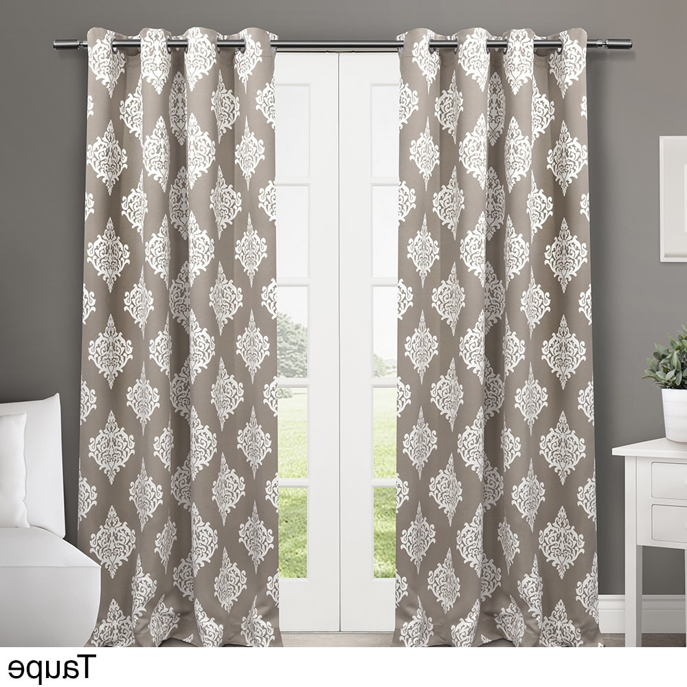 Penny Sheer Grommet Top Curtain Panel Pairs For Widely Used Exclusive Home Medallion Blackout Window Curtain Panel Pair (View 13 of 20)