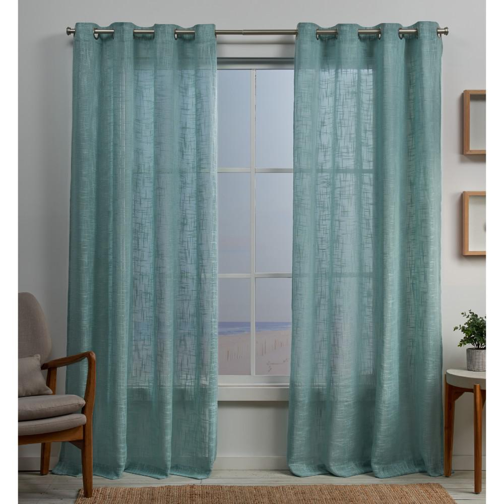 Penny Sheer Grommet Top Curtain Panel Pairs In Most Popular Exclusive Home Curtains Sena 54 In. W X 84 In (View 8 of 20)