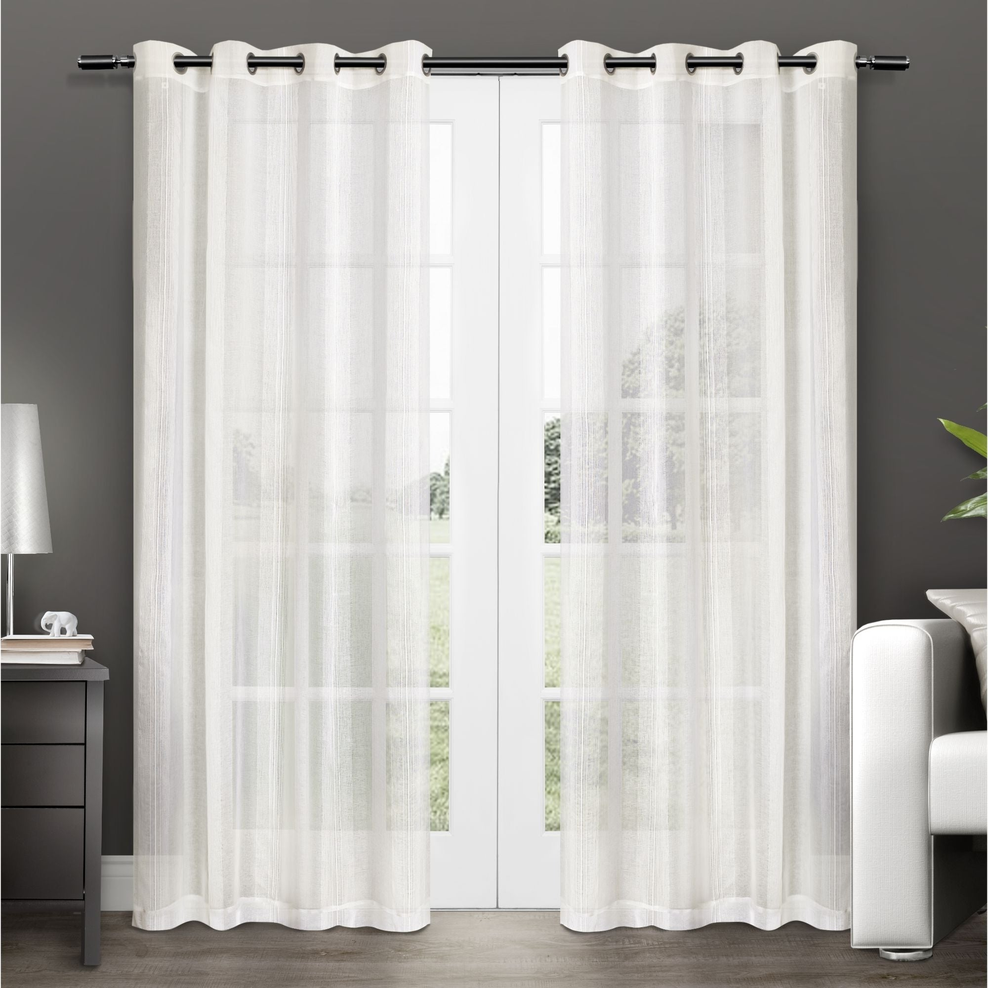 Featured Photo of Penny Sheer Grommet Top Curtain Panel Pairs