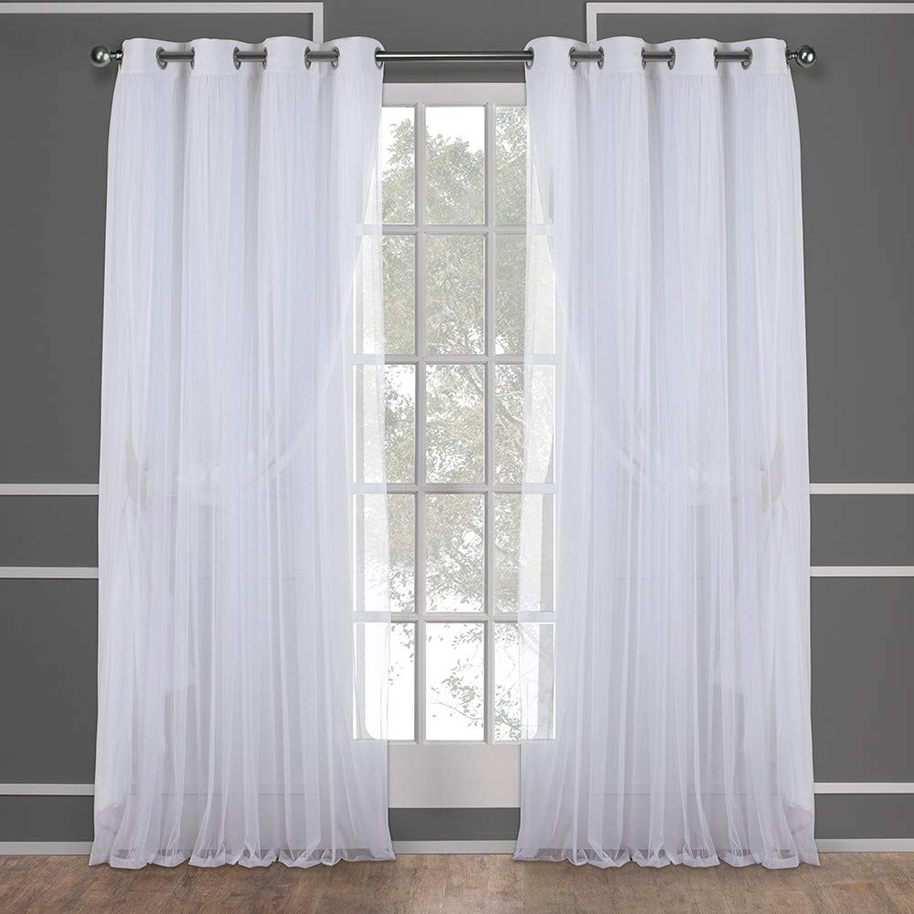 Penny Sheer Grommet Top Curtain Panel Pairs Pertaining To Best And Newest Exclusive Home Catarina Layered Solid Blackout And Sheer Grommet Top Curtain Panel Pair, Winter White, 52x84, 2 Piece (View 11 of 20)