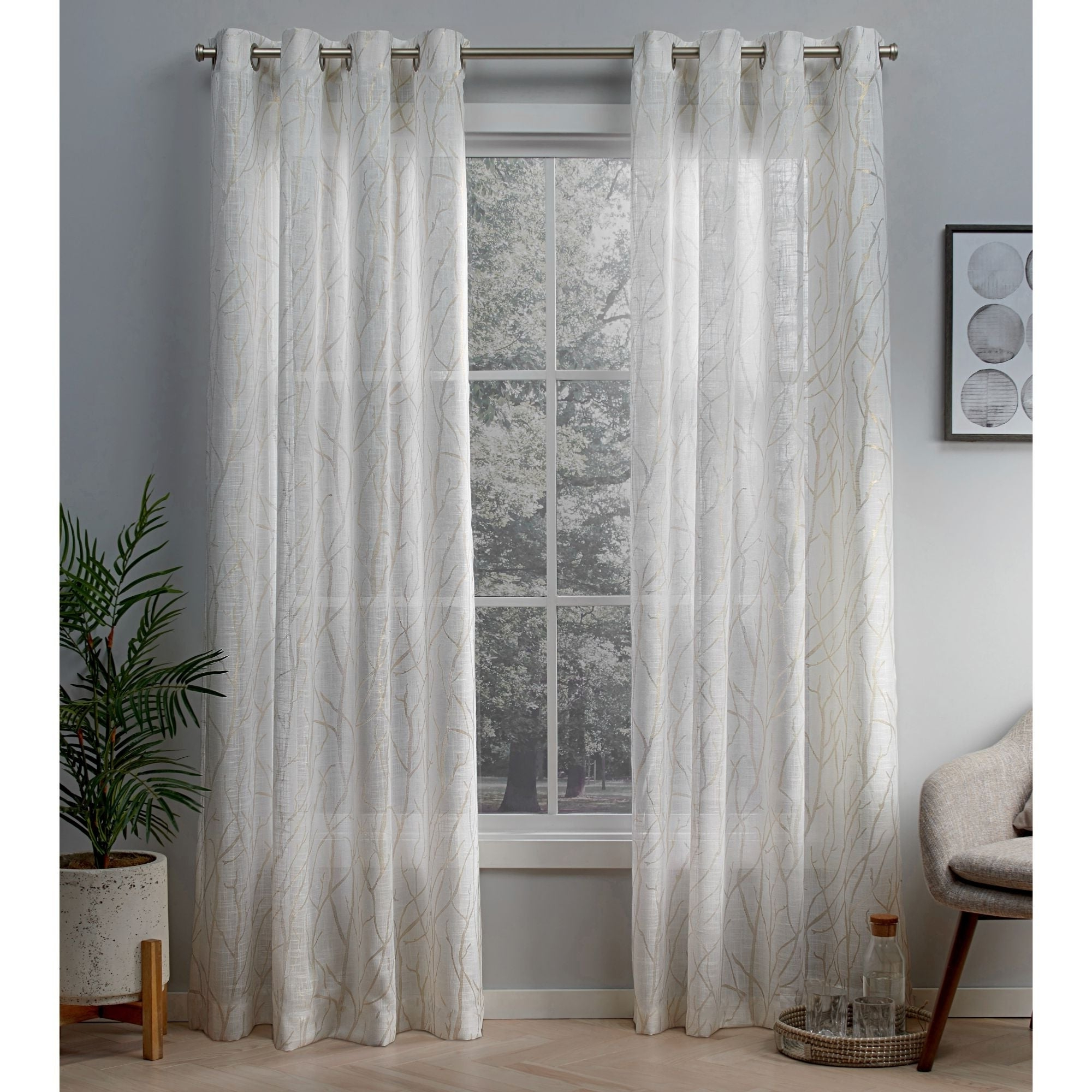 Penny Sheer Grommet Top Curtain Panel Pairs Within Most Popular Ati Home Woodland Metallic Print Sheer Grommet Top Curtain Panel Pair (View 3 of 20)