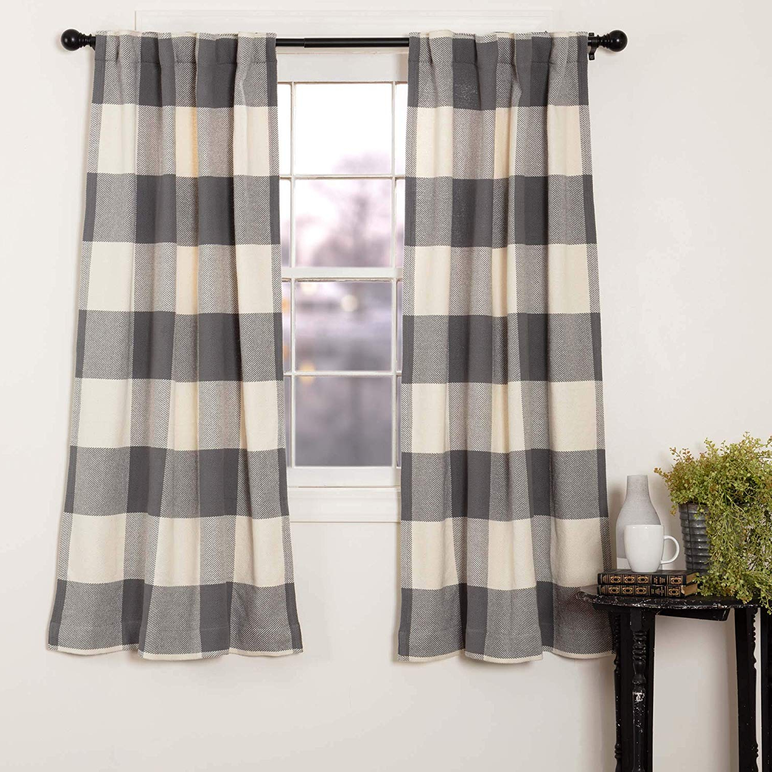 """Piper Classics Carter Gray Curtain Panels, Set Of 2, 63"""" Long, Modern Rustic Farmhouse Curtains, Dark Gray Check Drapes In Recent Grainger Buffalo Check Blackout Window Curtains (View 7 of 20)"""