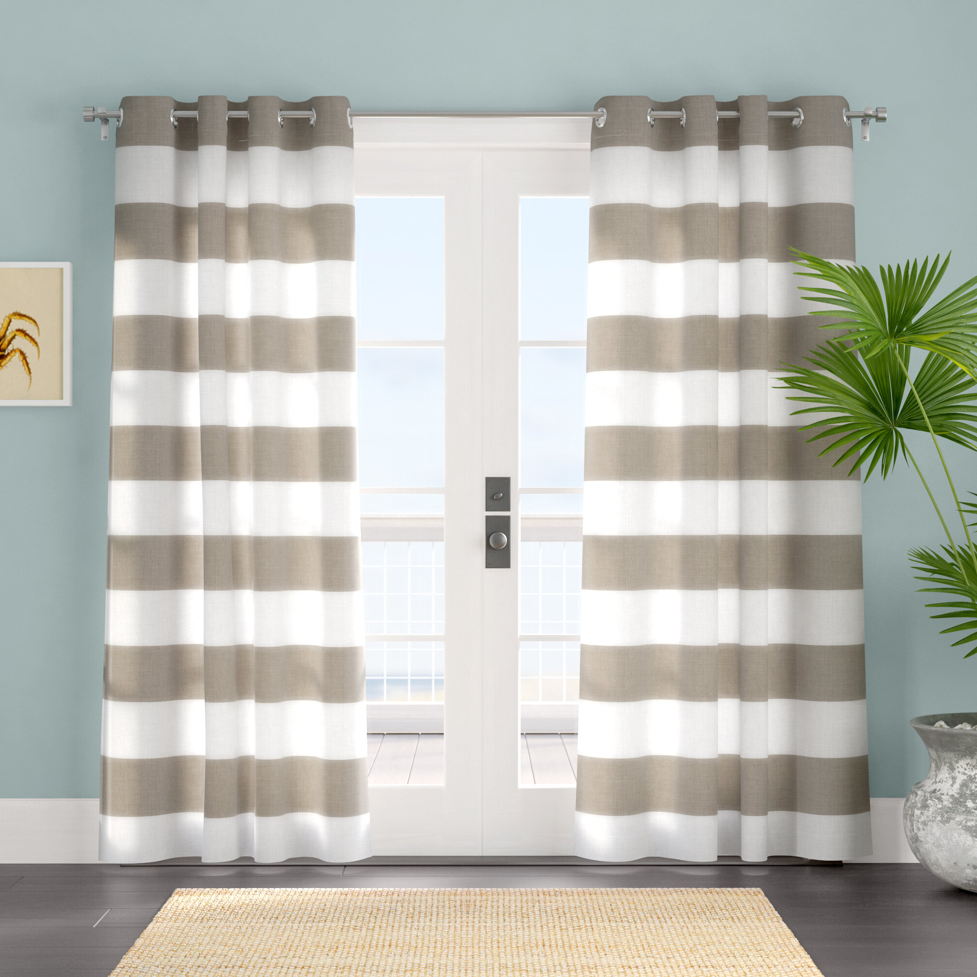Plant City Striped Room Darkening Grommet Curtain Panels Pertaining To Current Grommet Room Darkening Curtain Panels (View 18 of 20)