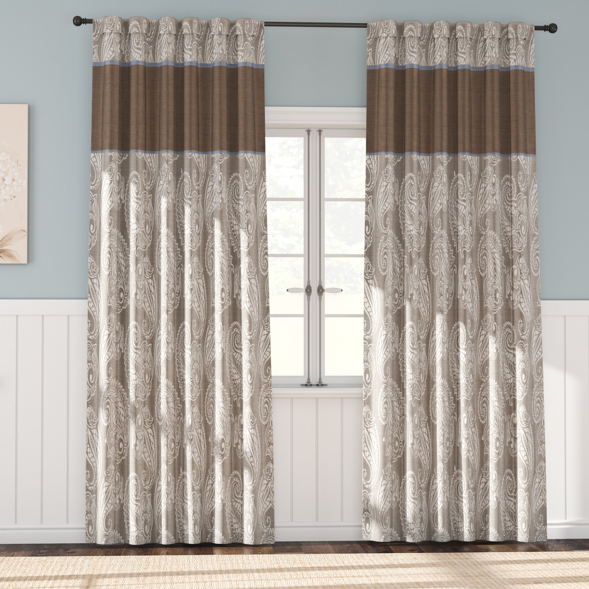 Pokanoket Paisley Room Darkening Rod Pocket Curtain Pertaining To Newest Julia Striped Room Darkening Window Curtain Panel Pairs (View 17 of 20)