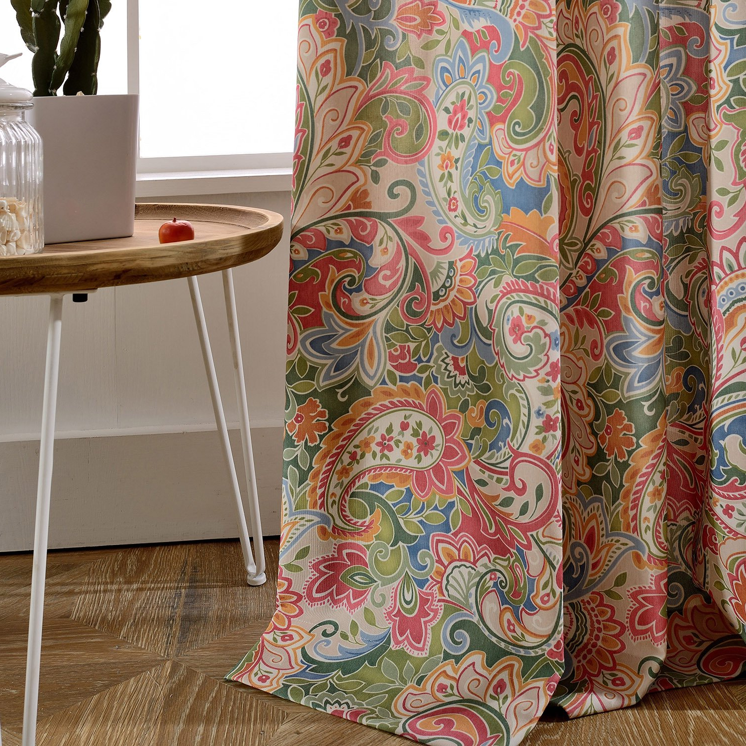 Polyester Cotton Colourful Paisley Curtain – Koting 1 Panel Retro Patterned Decro Curtain Grommet Top 50W84L Inch In Favorite Lambrequin Boho Paisley Cotton Curtain Panels (View 19 of 20)