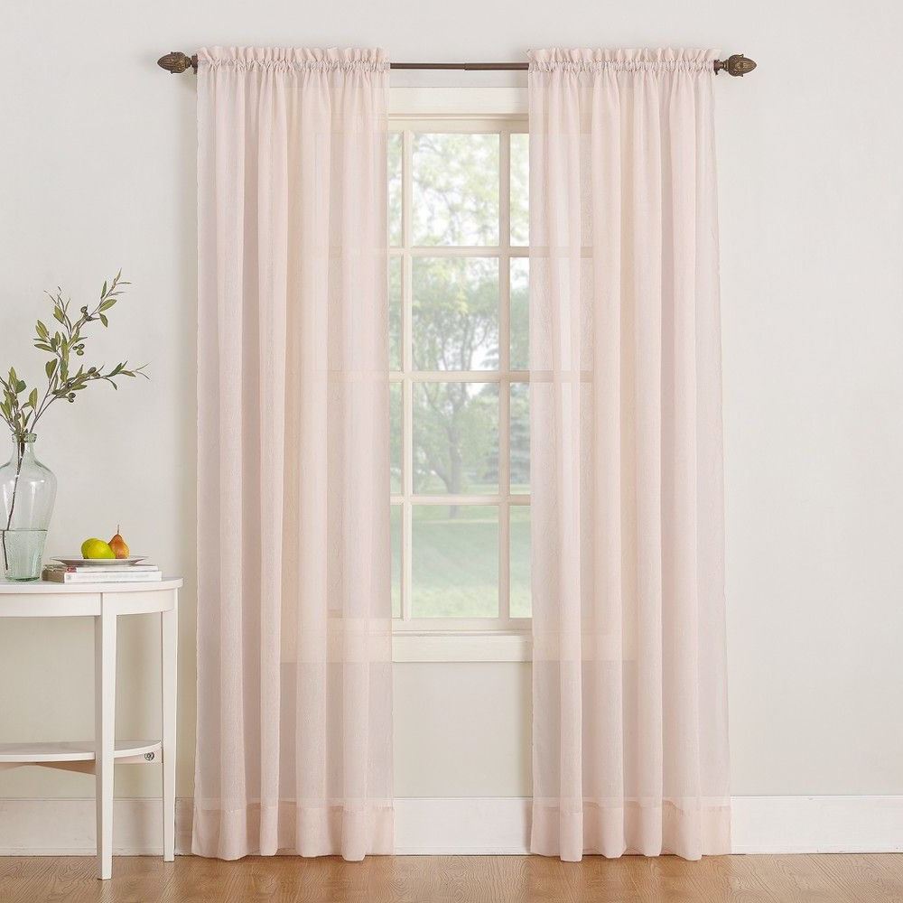 """Popular 51""""x63"""" Erica Crushed Sheer Voile Rod Pocket Curtain Panel For Erica Crushed Sheer Voile Grommet Curtain Panels (View 7 of 20)"""