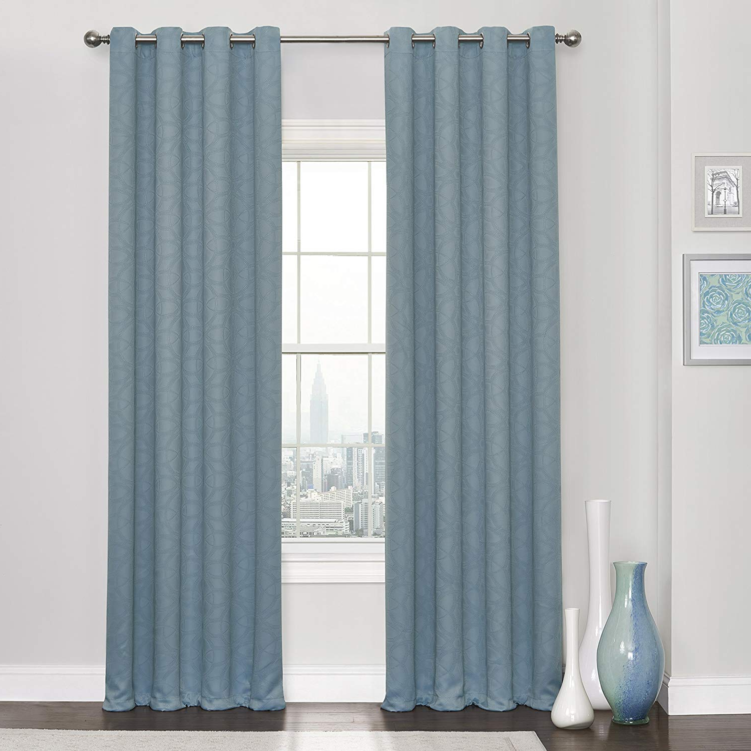 Popular Amazon: Eclipse 16911052095spa Thermaweave Blackout Pertaining To Eclipse Trevi Blackout Grommet Window Curtain Panels (View 15 of 20)