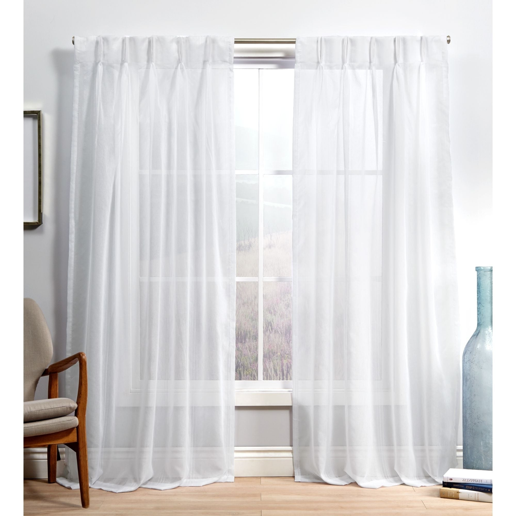 Popular Ati Home Penny Sheer Pinch Pleat Curtain Panel Pair For Double Pinch Pleat Top Curtain Panel Pairs (View 5 of 20)
