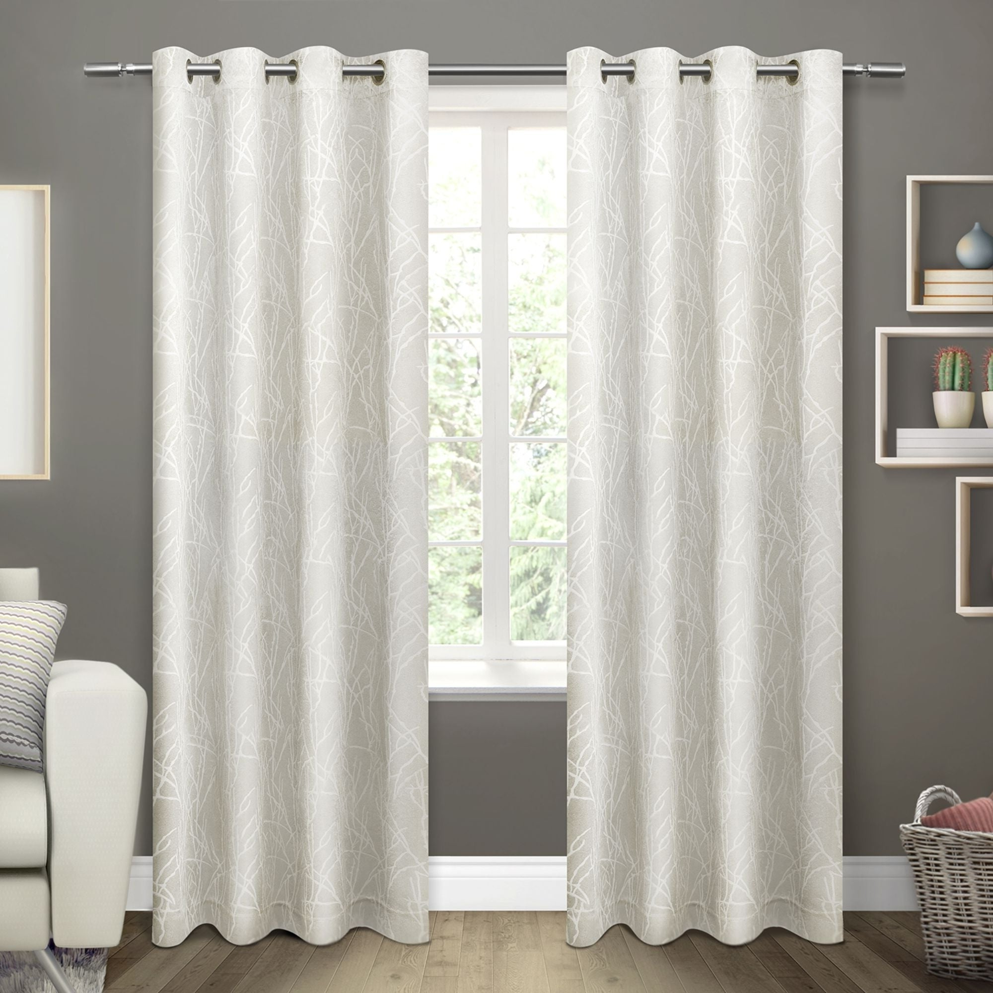 Popular Ati Home Twig Insulated Blackout Curtain Panel Pair With Grommet Top Inside Insulated Grommet Blackout Curtain Panel Pairs (View 15 of 20)