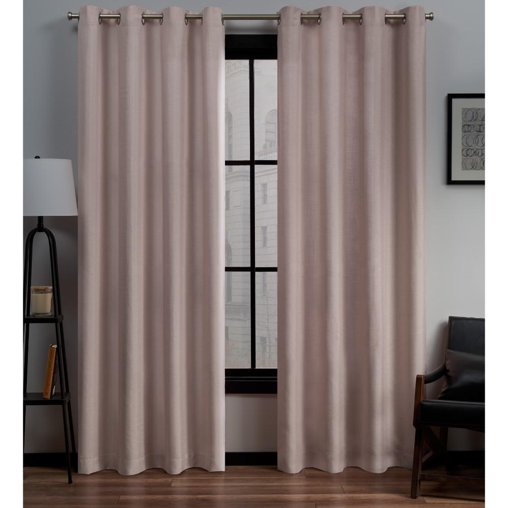 Popular Baroque Linen Grommet Top Curtain Panel Pairs Regarding Exclusive Home Curtains Loha Linen Grommet Top Curtain Panel Pair In Blush – 54 In. W X 84 In (View 10 of 20)