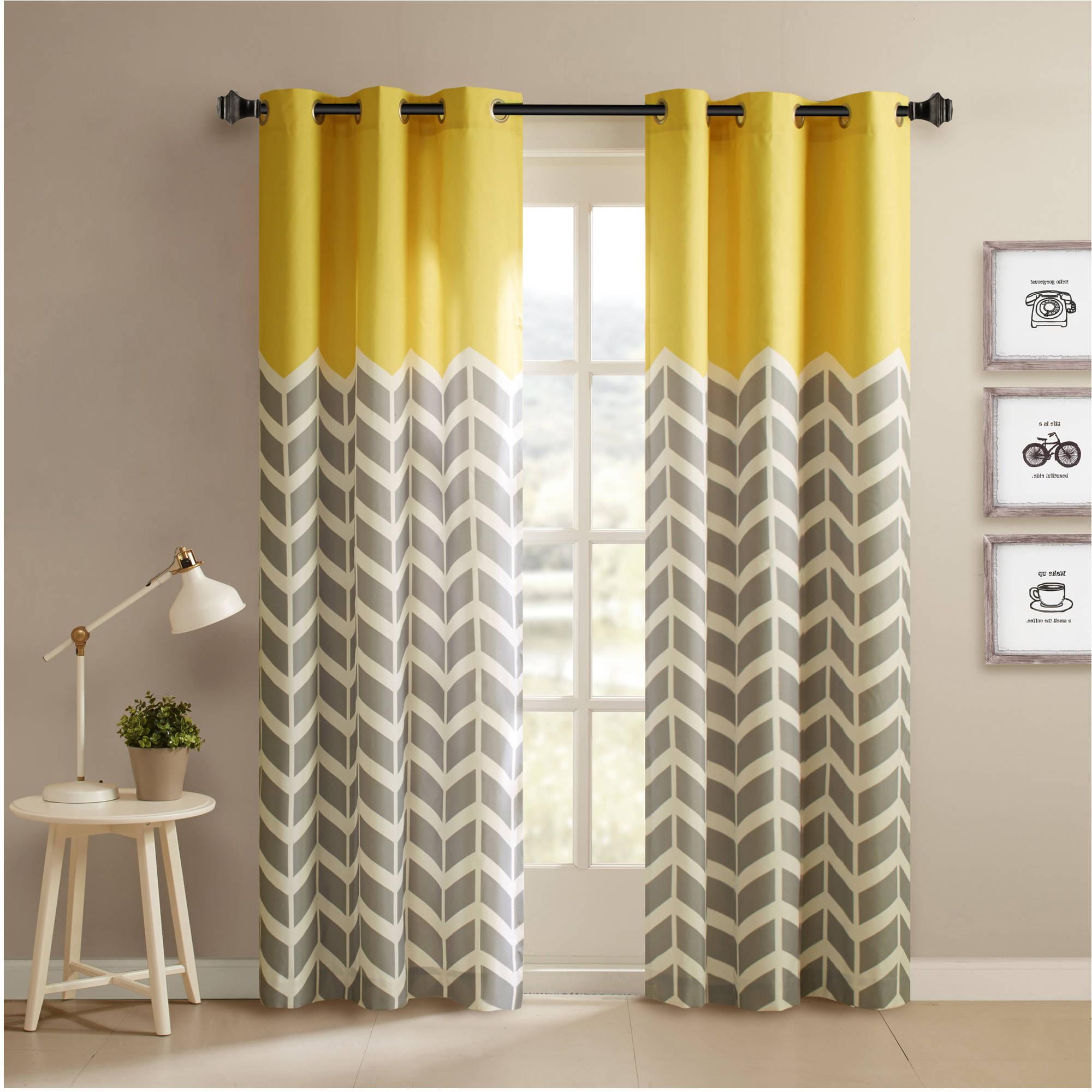 Popular Chevron Blackout Grommet Curtain Panels With Regard To Home Essence Apartment Elaine Chevron Printed Grommet Top Panel Pair (View 13 of 20)