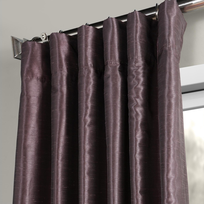 Popular Dark Grape Vintage Textured Faux Dupioni Silk Curtain With Vintage Textured Faux Dupioni Silk Curtain Panels (View 10 of 20)