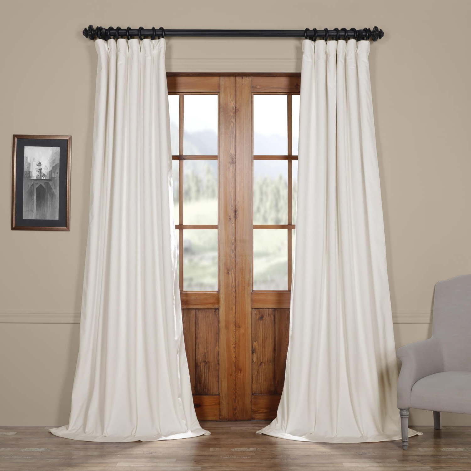 Popular Details About Half Price Drapes Vpch 110602 108 Signature Blackout Velvet  Curtain, Off White, Inside Signature Blackout Velvet Curtains (View 8 of 20)