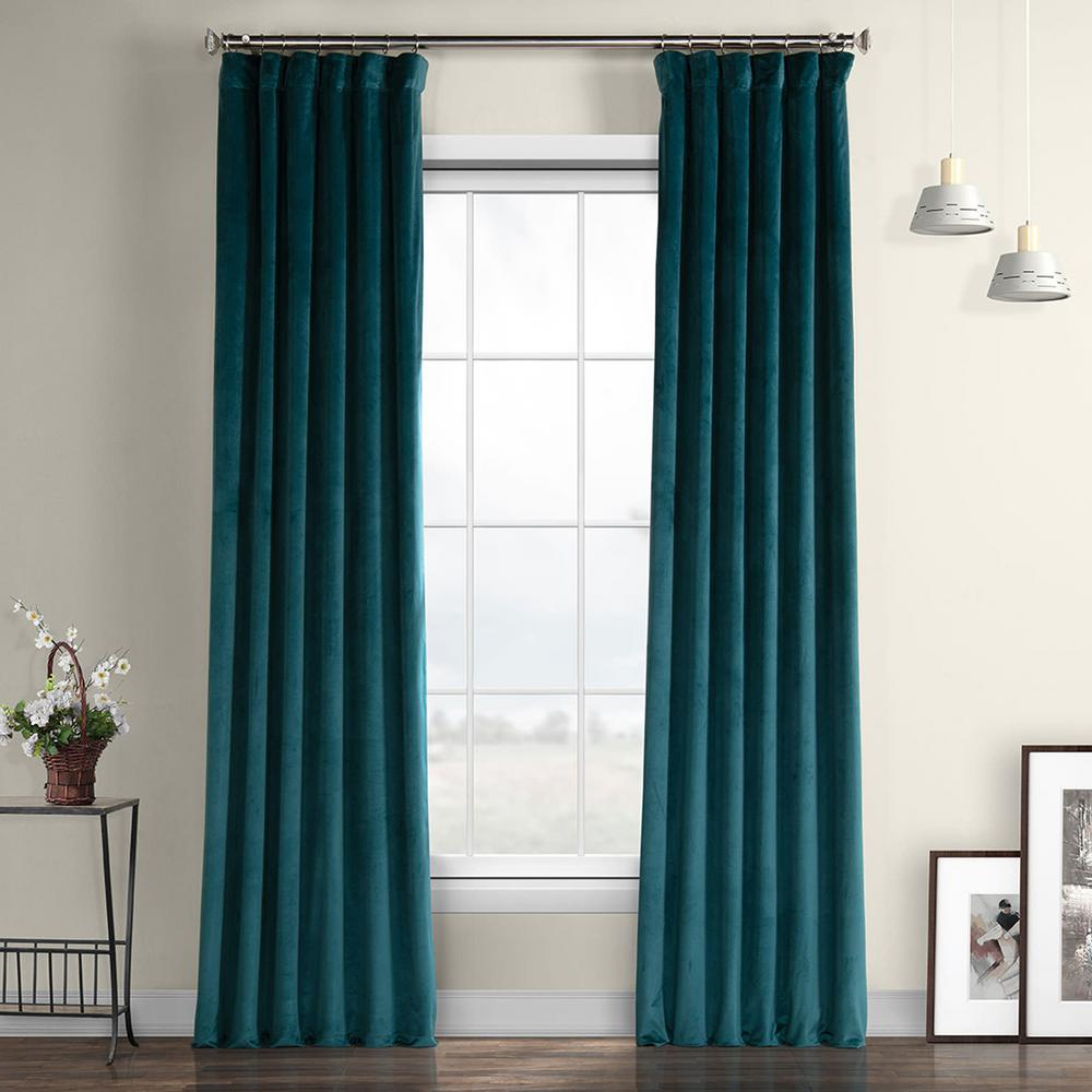 Popular Exclusive Fabrics & Furnishings Deep Sea Teal Blue Heritage Plush Velvet Curtain – 50 In. W X 96 In (View 4 of 20)