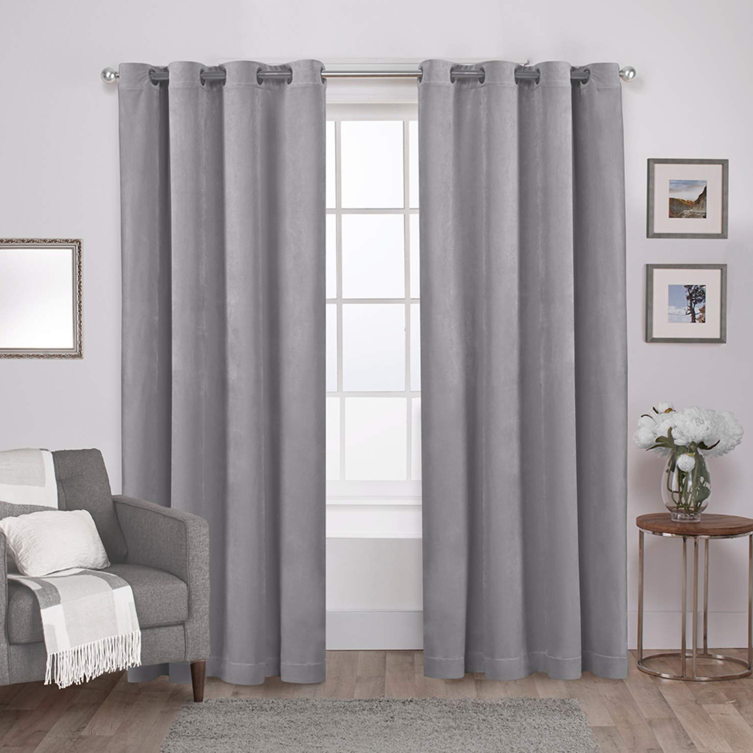 Popular Exclusive Home Curtains Velvet Heavyweight Window Curtain Panel Pair With Grommet Top, 54x96, Silver, 2 Piece With Regard To Velvet Heavyweight Grommet Top Curtain Panel Pairs (View 2 of 20)