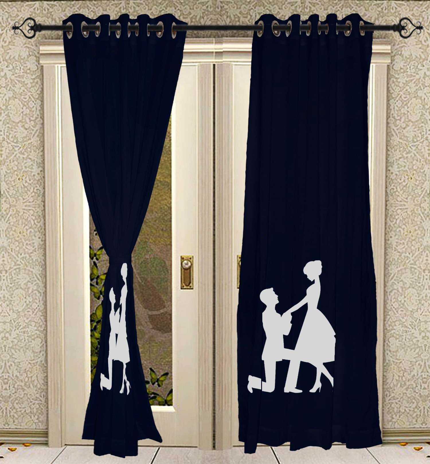 Popular Eyelet Hand Block Printed Curtain Panels For Living Room Solid Cotton Blue Curtains 2 Pcs Panel Set Intended For Solid Cotton Curtain Panels (View 16 of 20)