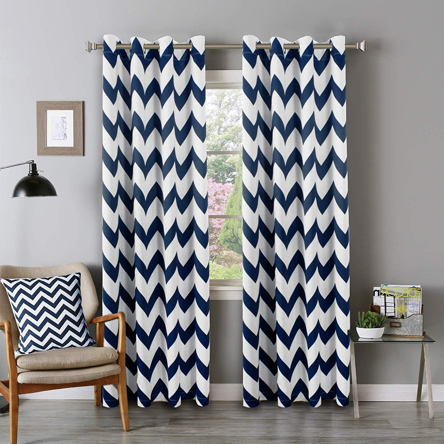 """Popular Flamingo P Chevron Pattern Thermal Insulated Blackout Curtains (2 Panels)  Grommet Window Curtain Panel Pair For Living Room, Navy 52"""" Width96"""" Intended For Thermal Insulated Blackout Curtain Panel Pairs (Gallery 15 of 20)"""