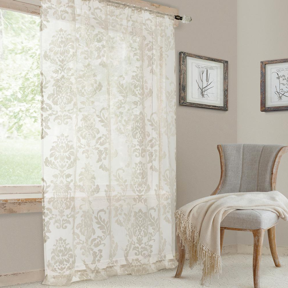Popular Light Filtering Sheer Single Curtain Panels Within Elrene Valentina Sheer White Single Window Curtain Panel – 52 In. W X 108  In (View 13 of 20)