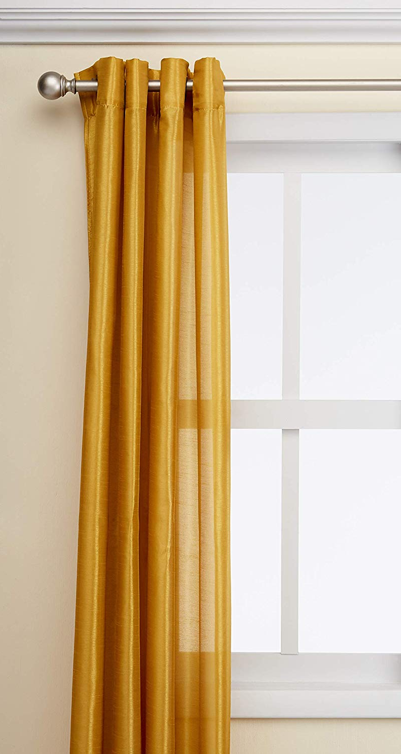 "Popular Luxury Collection Faux Leather Blackout Single Curtain Panels Regarding Kashi Home Holly Collection Faux Silk Window Panel/curtain/drape 57""x 84""  Lightweight Solid Design In Mustard – Single Panel, Grommet Top Panel (View 14 of 20)"