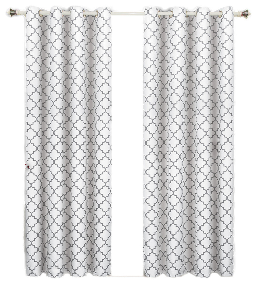 """Popular Meridian Room Darkening Thermal Grommet Panels, Set Of 2, White, 104""""x84"""" Intended For Edward Moroccan Pattern Room Darkening Curtain Panel Pairs (View 19 of 20)"""