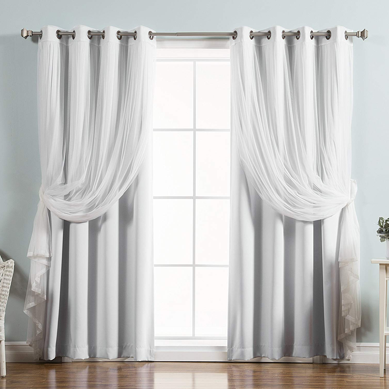 """Popular Mix And Match Blackout Tulle Lace Sheer Curtain Panel Sets Intended For Best Home Fashion Umixm Tulle Sheer Lace & Blackout 4 Piece Curtain Set – Antique Bronze Grommet Top – Vapor – 52"""" Wx 96"""" L – (set Of 4 Panels) (View 15 of 20)"""