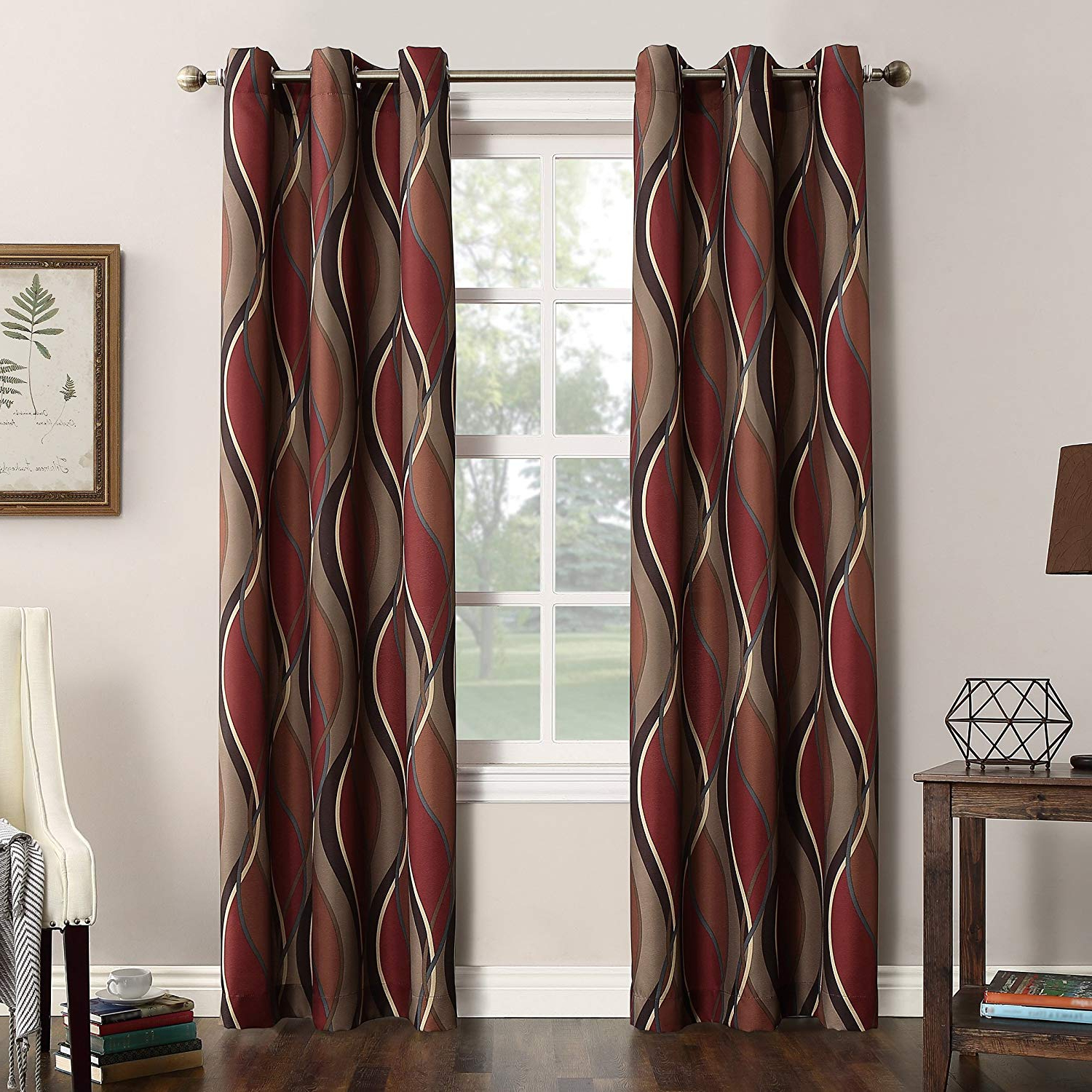 Featured Photo of Intersect Grommet Woven Print Window Curtain Panels