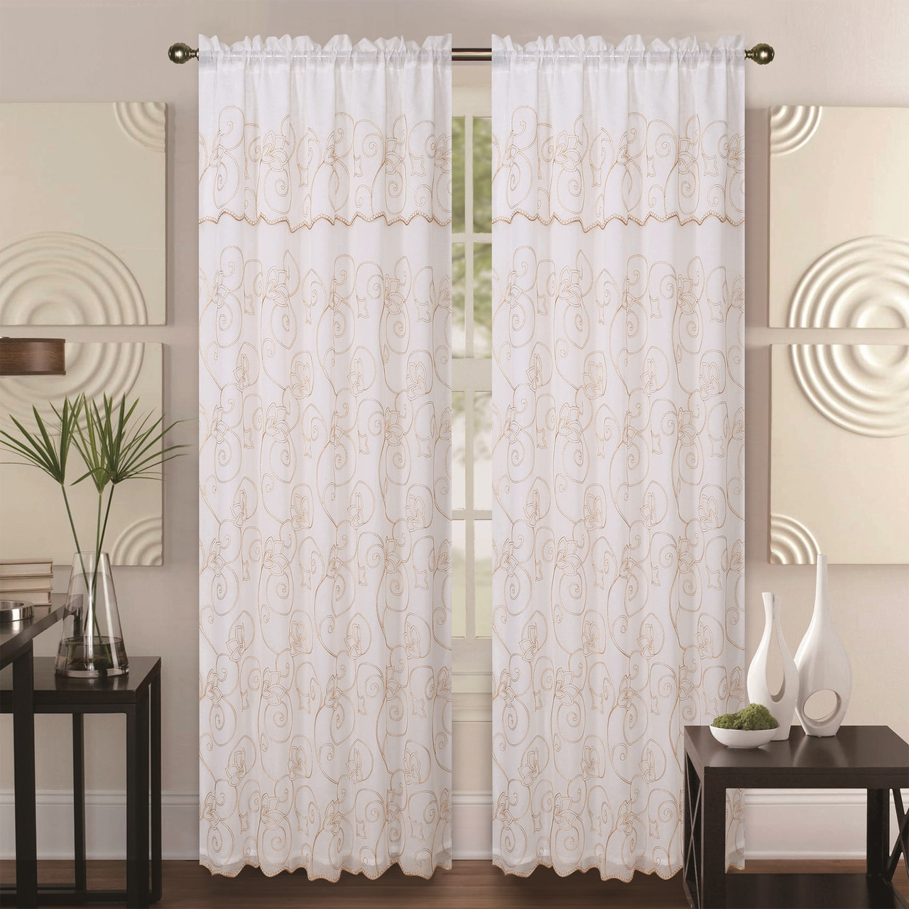 Popular Ofloral Embroidered Faux Silk Window Curtain Panels Regarding Double Layer Embroidery Floral Sheer Linen Front / Faux Silk Back Rod Pocket Valance Decorative Curtain Panel 55x84 Inch, Selma Single Drape Panel (View 8 of 20)