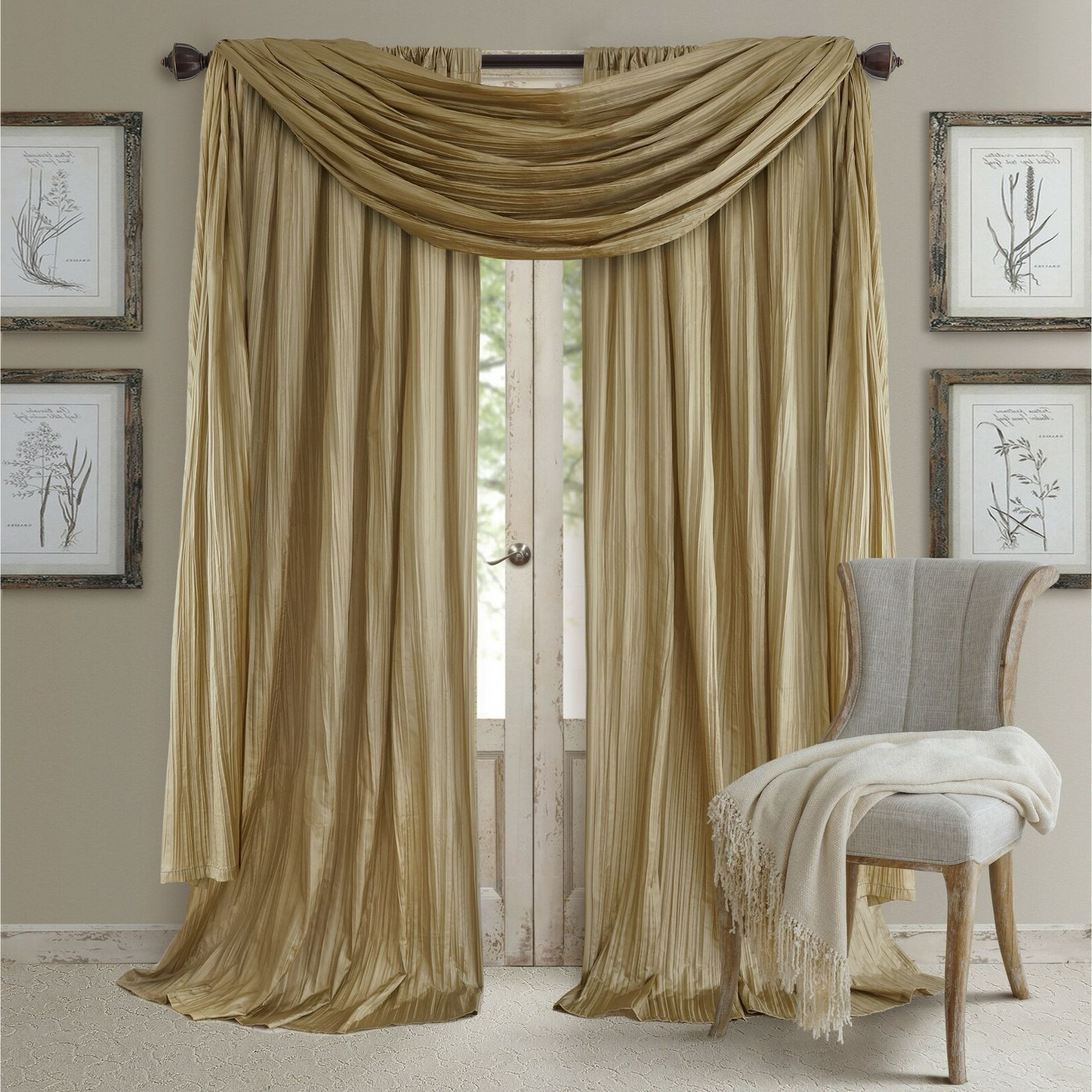 Popular Overseas Faux Silk Blackout Curtain Panel Pairs For Details About Set 2 Solid Gold Faux Silk Curtains Panels Drapes Pair  Elegant W/ Scarf 108 In (View 15 of 20)