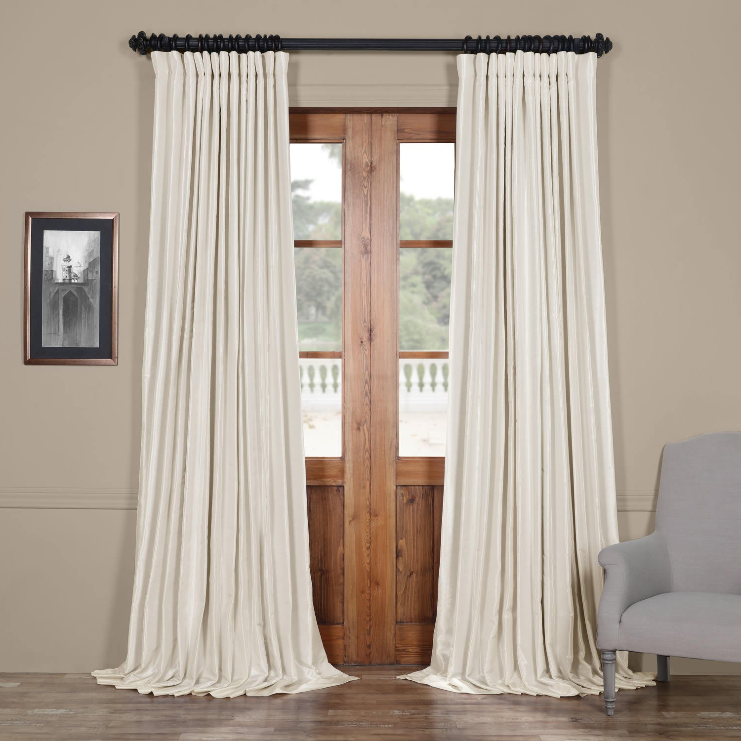 Popular Pdch Kbs2Bo 96 Dw Blackout Extra Wide Vintage Faux Dupioni Curtain, Off  White, 100 X 96 Inside Ice White Vintage Faux Textured Silk Curtain Panels (View 16 of 20)