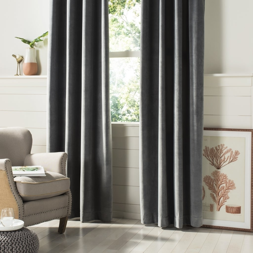 "Popular Safavieh Edessa 84 Inch Single Curtain Panel – 84"" L X 52"" W Pertaining To Luxury Collection Faux Leather Blackout Single Curtain Panels (View 15 of 20)"