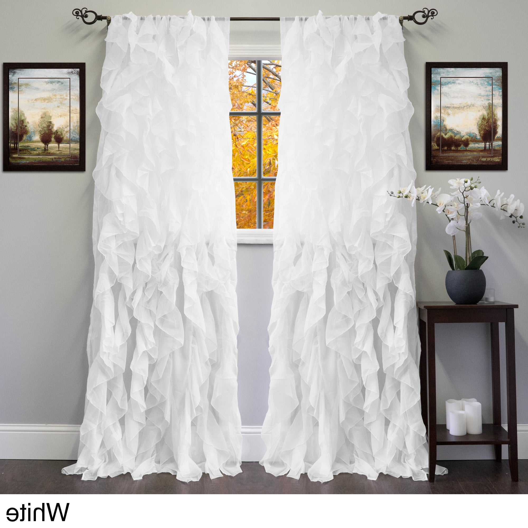 Featured Photo of Sheer Voile Ruffled Tier Window Curtain Panels