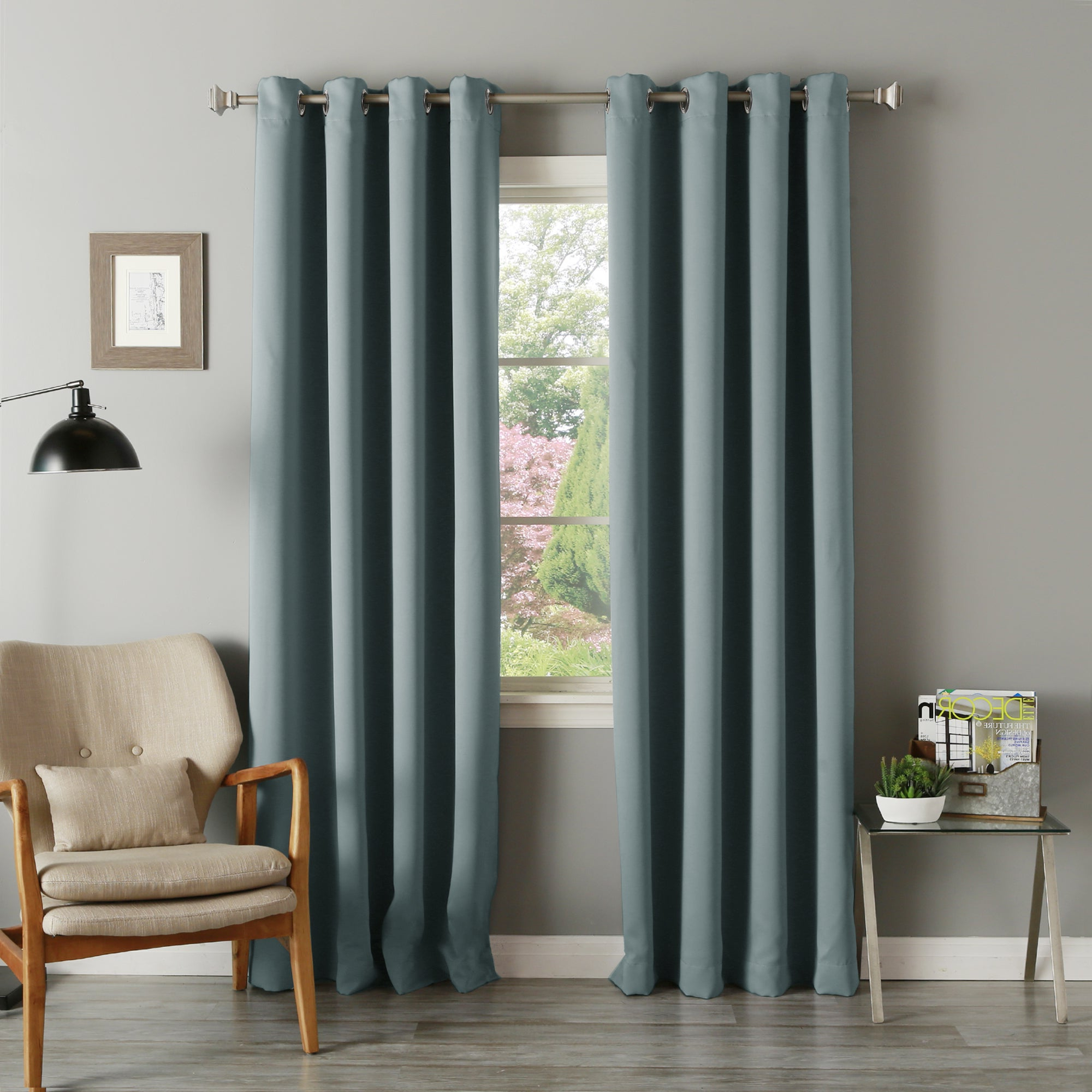 Popular Silvertone Grommet Thermal Insulated Blackout Curtain Panel Pairs In Aurora Home Silvertone Grommet Thermal Insulated Blackout Curtain Panel Pair (View 2 of 20)