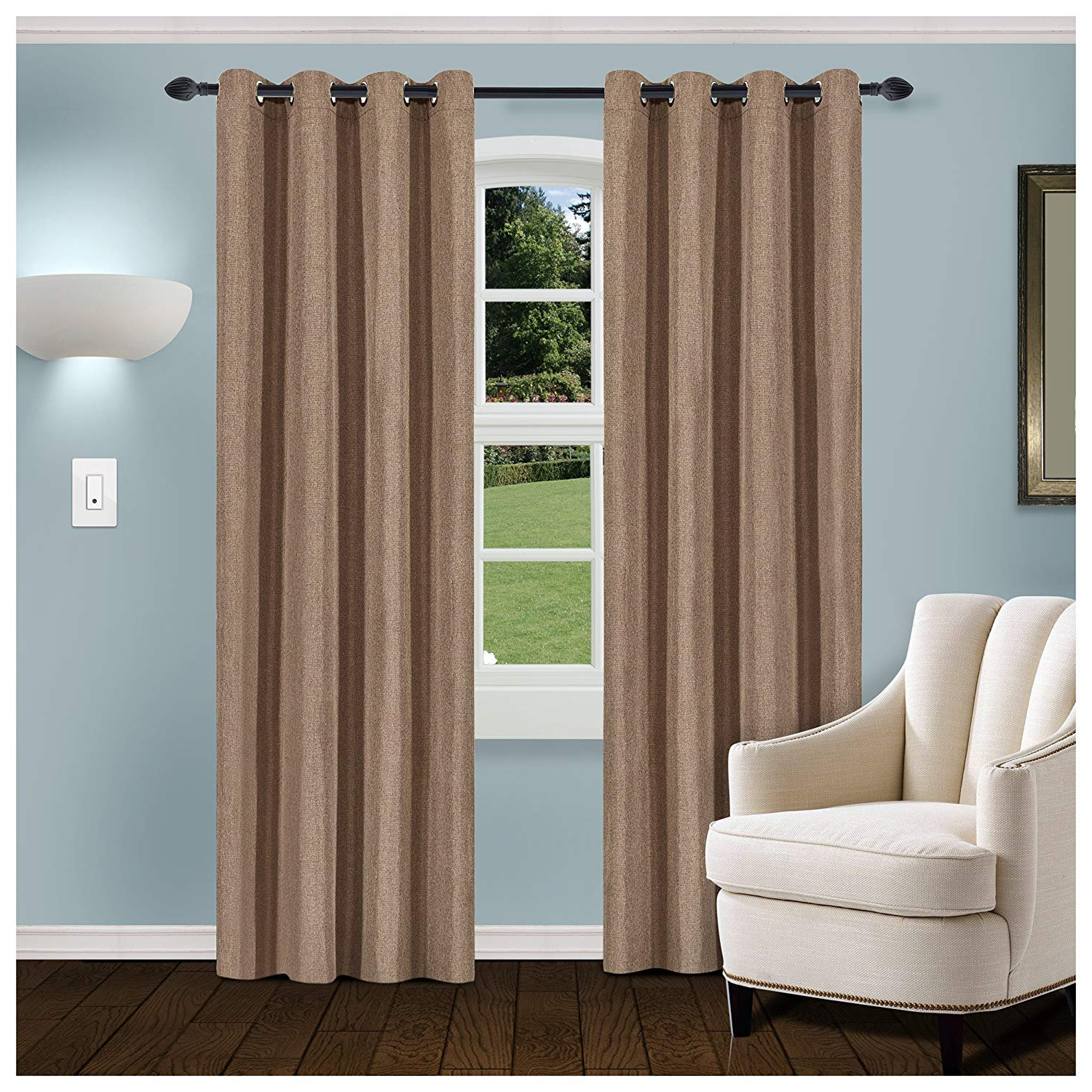 Popular Thermal Insulated Blackout Curtain Pairs Within Buy Superior Linen Textured Blackout Curtain Set Of (View 14 of 20)