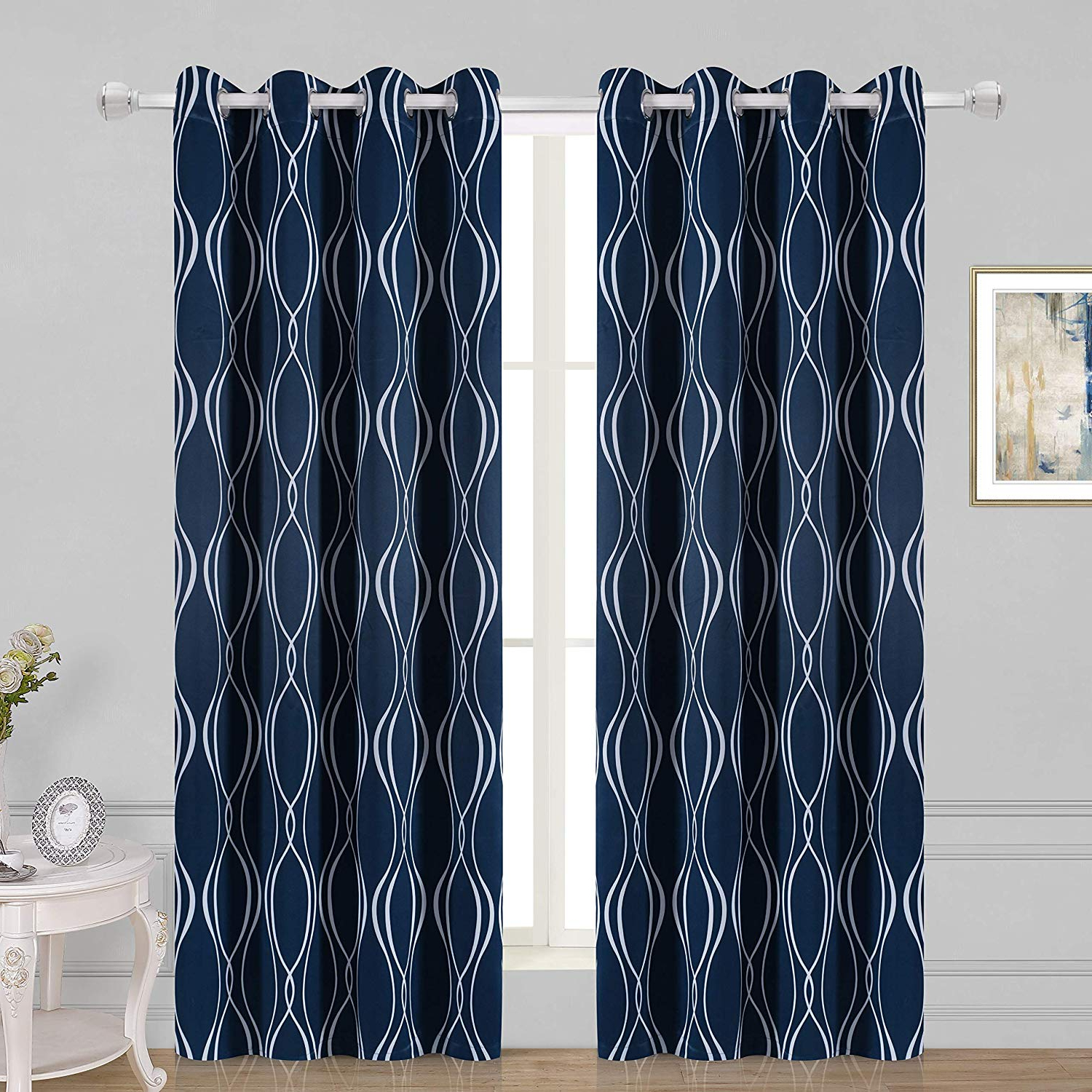Popular Wontex Geometric Trellis Printed Thermal Insulated Blackout Curtains, Grommet Room Darkening Curtains For Living Room And Bedroom, Set Of 2 Curtain Intended For Geometric Print Textured Thermal Insulated Grommet Curtain Panels (View 12 of 20)