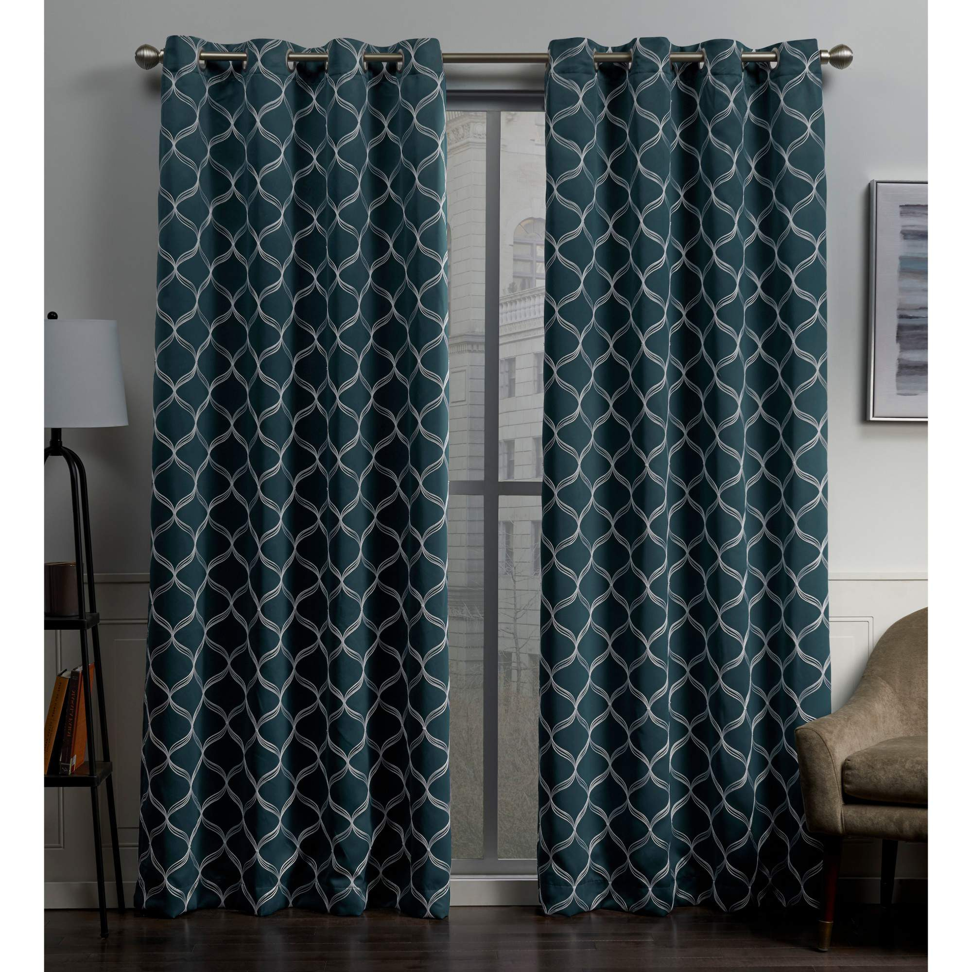 Popular Woven Blackout Grommet Top Curtain Panel Pairs Pertaining To Exclusive Home Amelia Woven Blackout Grommet Top Curtain Panel Pair (View 9 of 20)