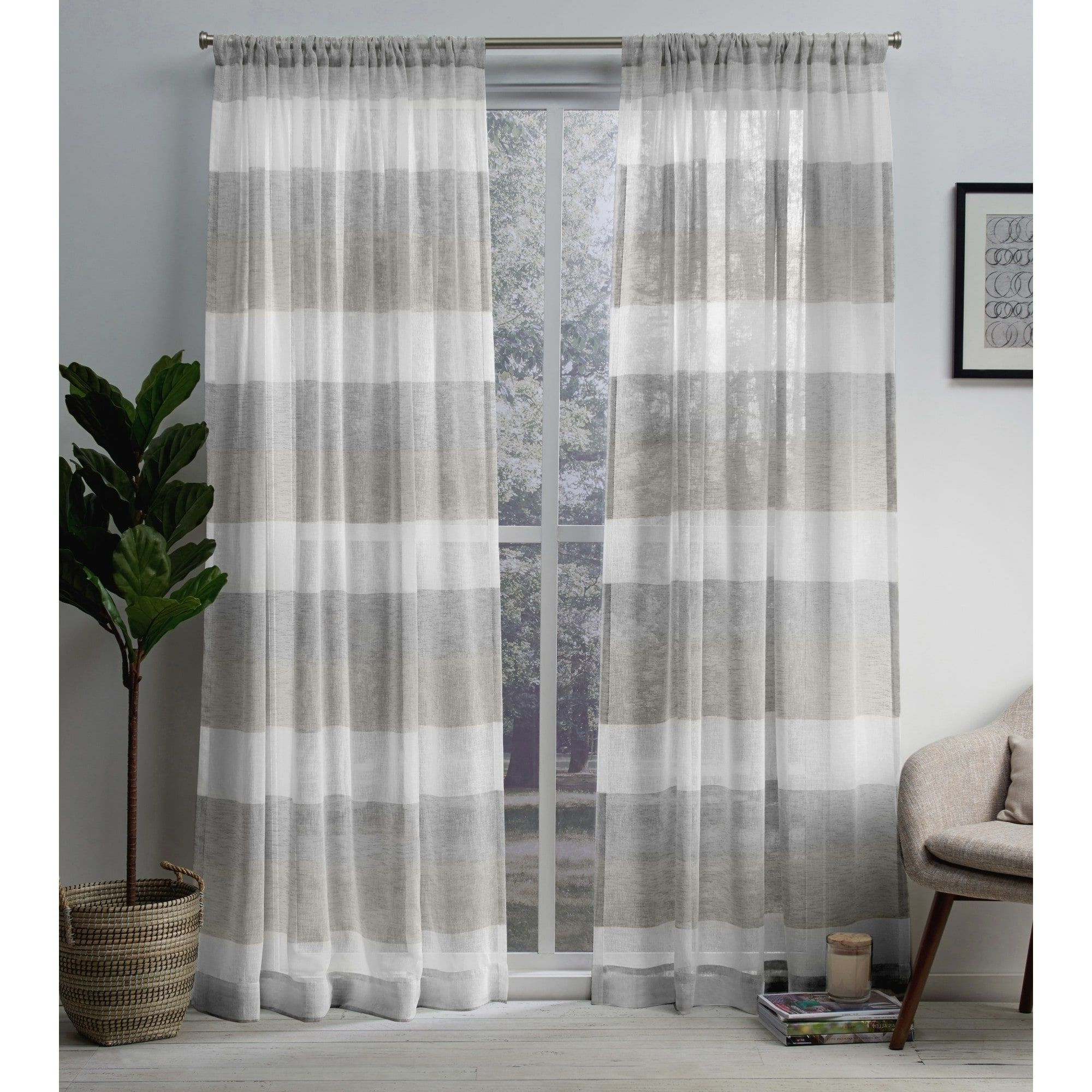 Porch & Den Ocean Stripe Sheer Curtain Panel Pair With Rod Within Most Recently Released Ocean Striped Window Curtain Panel Pairs With Grommet Top (View 15 of 20)
