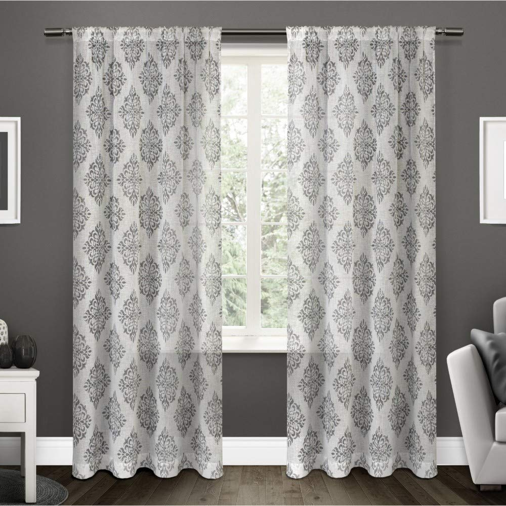 Preferred Belgian Sheer Window Curtain Panel Pairs With Rod Pocket With Regard To Exclusive Home Curtains Nagano Medallion Belgian Linen Window Curtain Panel  Pair With Rod Pocket, 54X96, Black Pearl, 2 Piece (View 15 of 20)