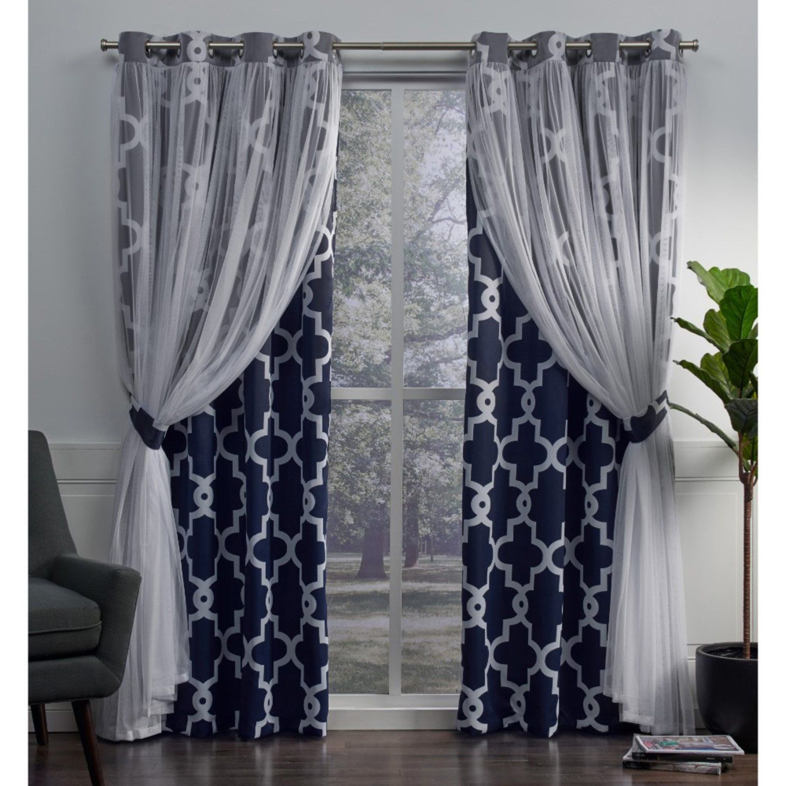Preferred Bethany Sheer Overlay Blackout Window Curtains Throughout Exclusive Home Alegra Layered Gated Blackout And Sheer (View 15 of 20)