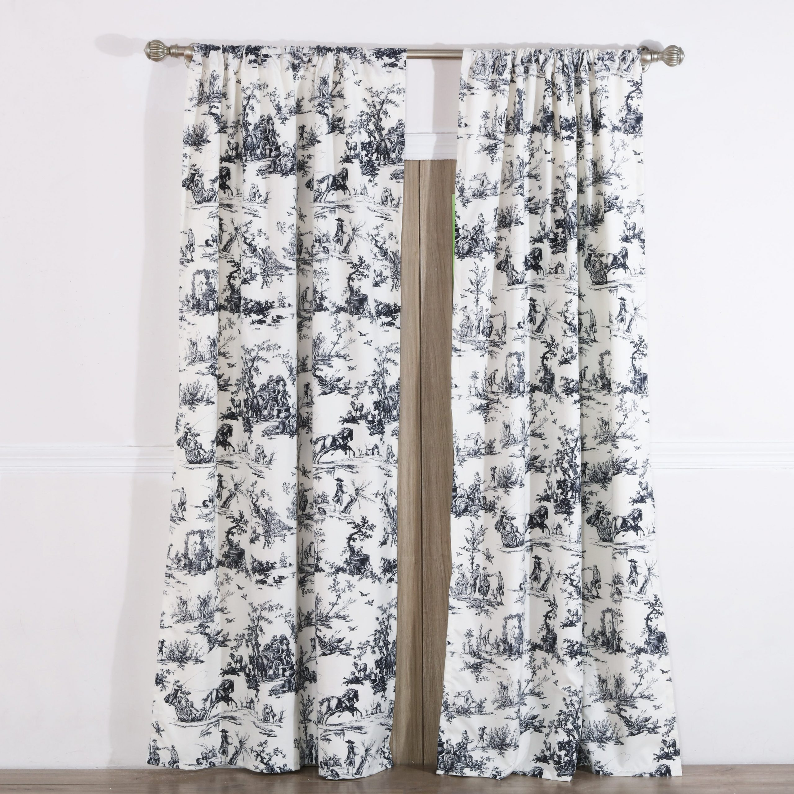 Preferred Classic Toile Black Curtain Panel Pair With Tiebacks (Set Of Two Panels) Intended For The Gray Barn Kind Koala Curtain Panel Pairs (View 18 of 20)
