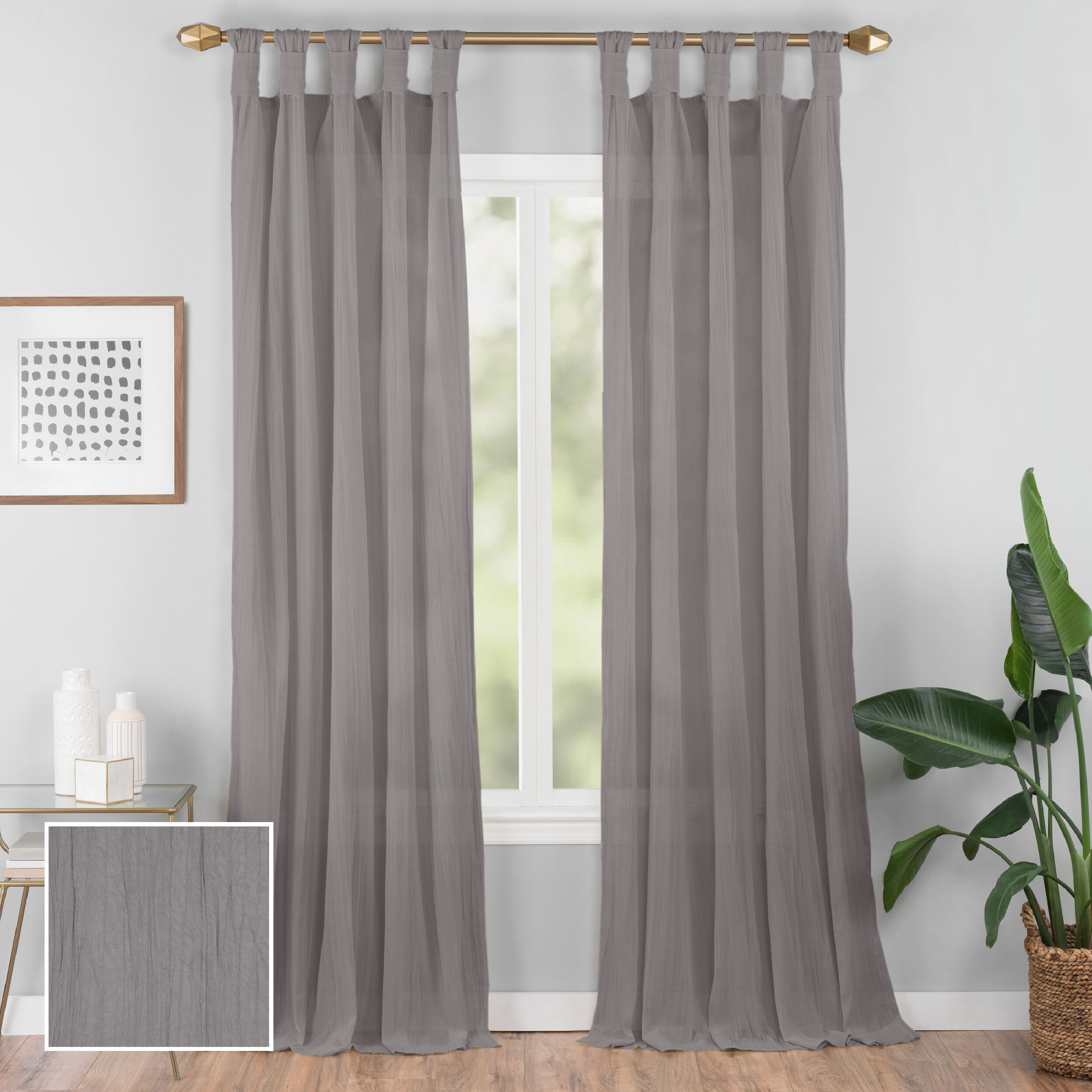 Preferred Connors Solid Semi Sheer Tab Top Single Curtain Panel Pertaining To Tab Top Sheer Single Curtain Panels (View 4 of 20)